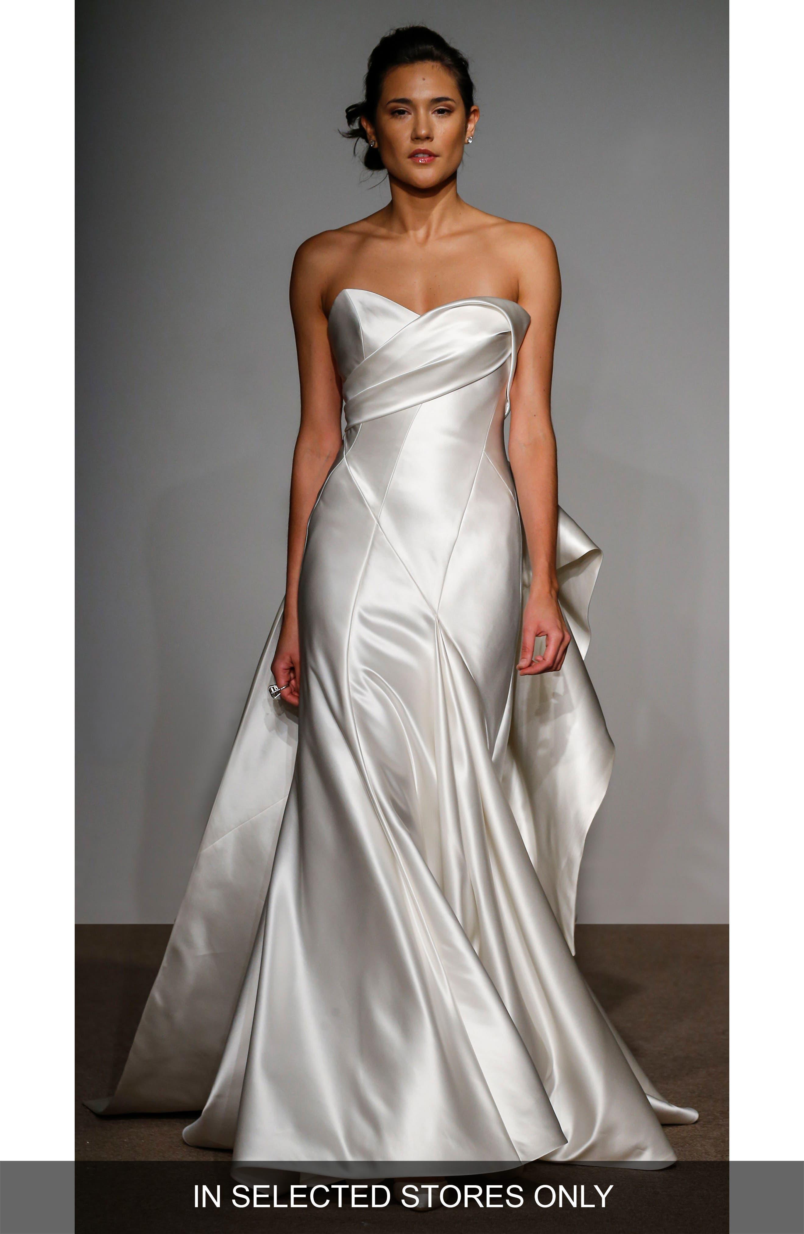 Penelope Strapless Silk Duchess Satin Gown,                             Alternate thumbnail 2, color,                             900
