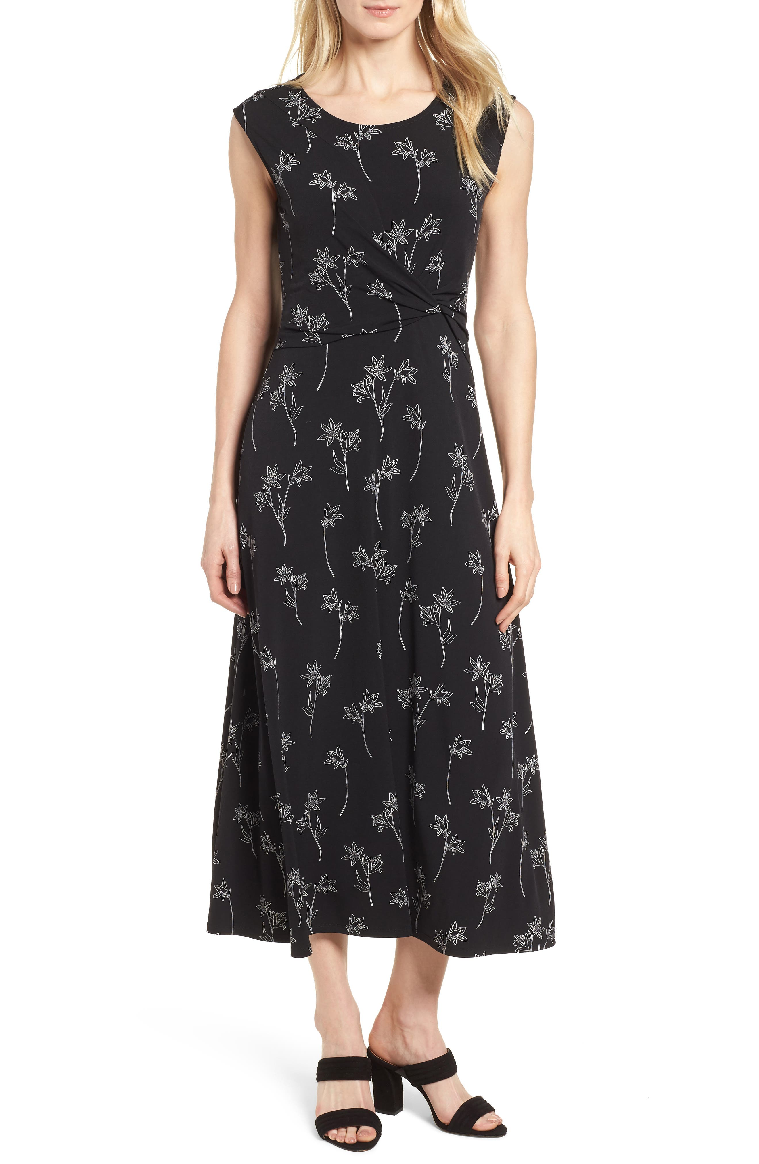 Floral Outlines Knot Front Maxi Dress,                             Main thumbnail 1, color,                             001