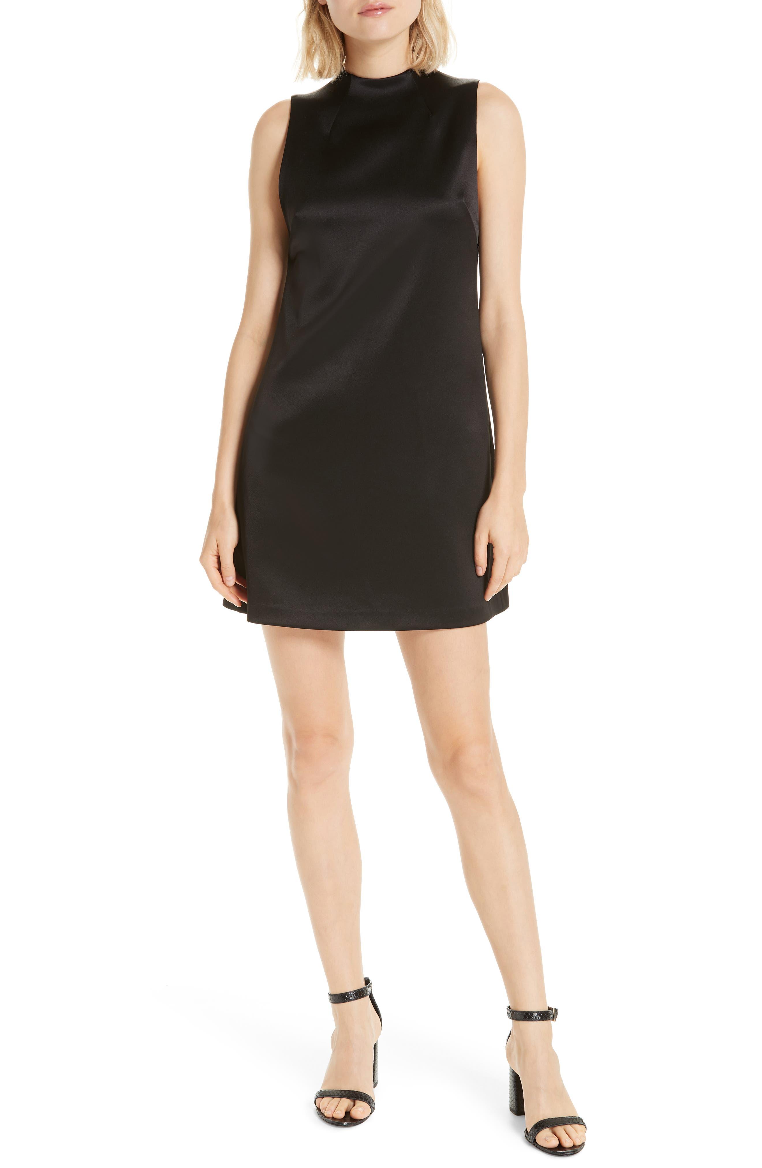 ALICE + OLIVIA,                             Coley A-Line Shift Dress,                             Main thumbnail 1, color,                             BLACK