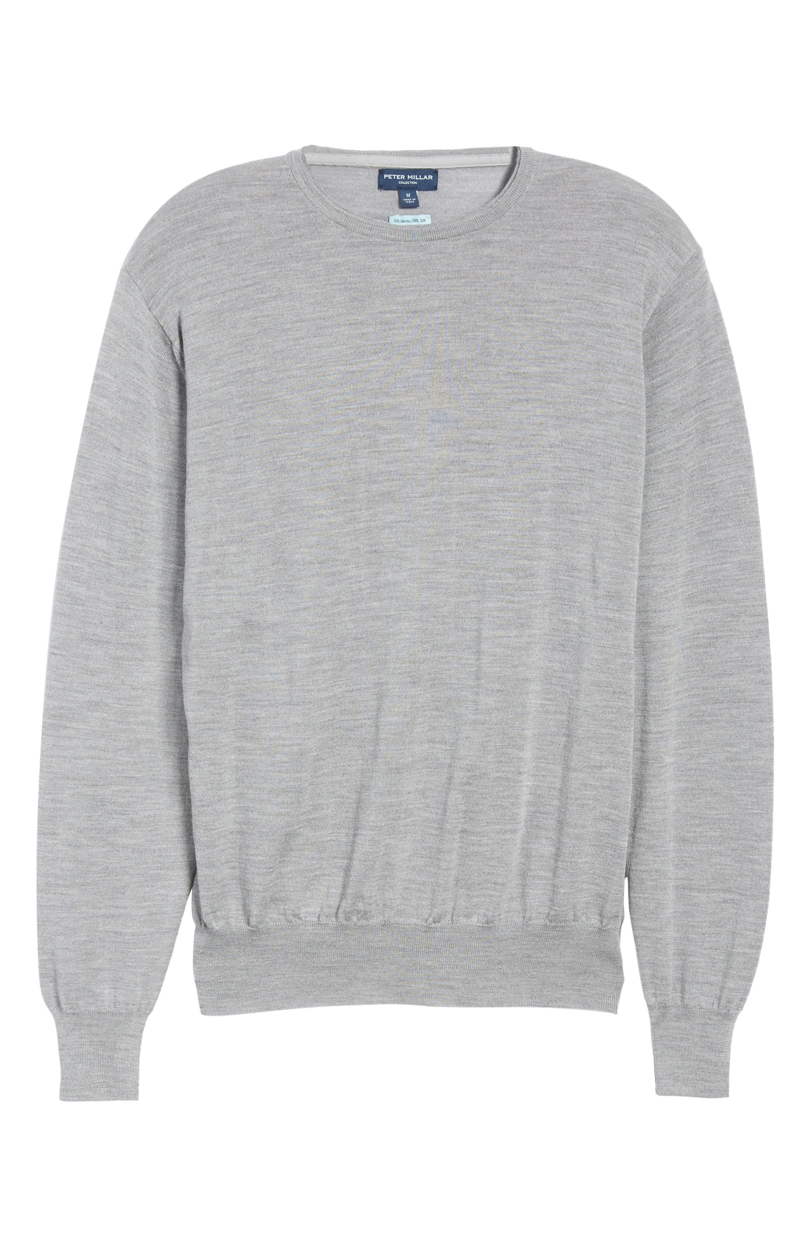 Merino Wool & Silk Crewneck Sweater,                             Alternate thumbnail 6, color,                             036