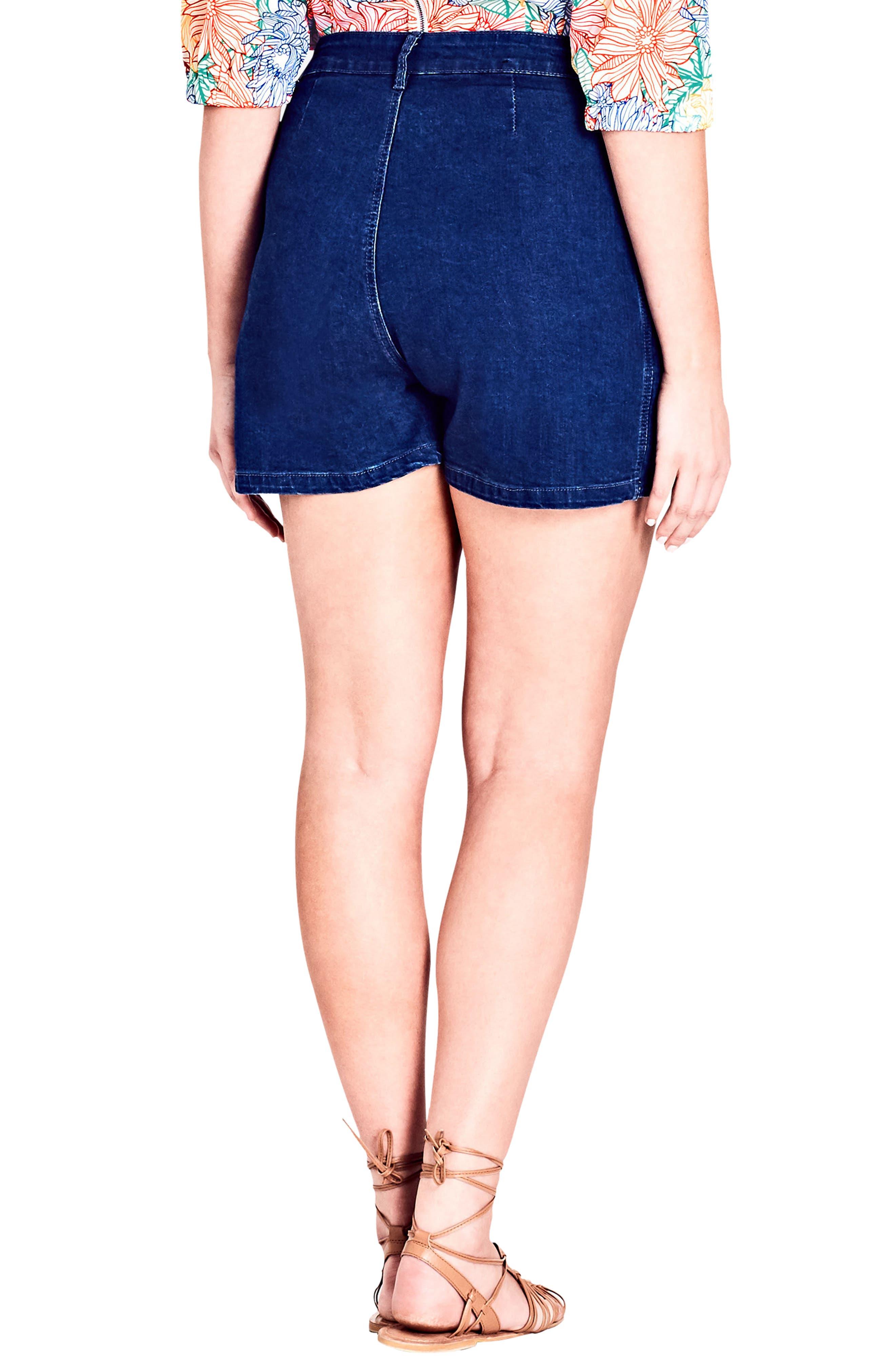 Lace-Up Denim Shorts,                         Main,                         color, DARK DENIM