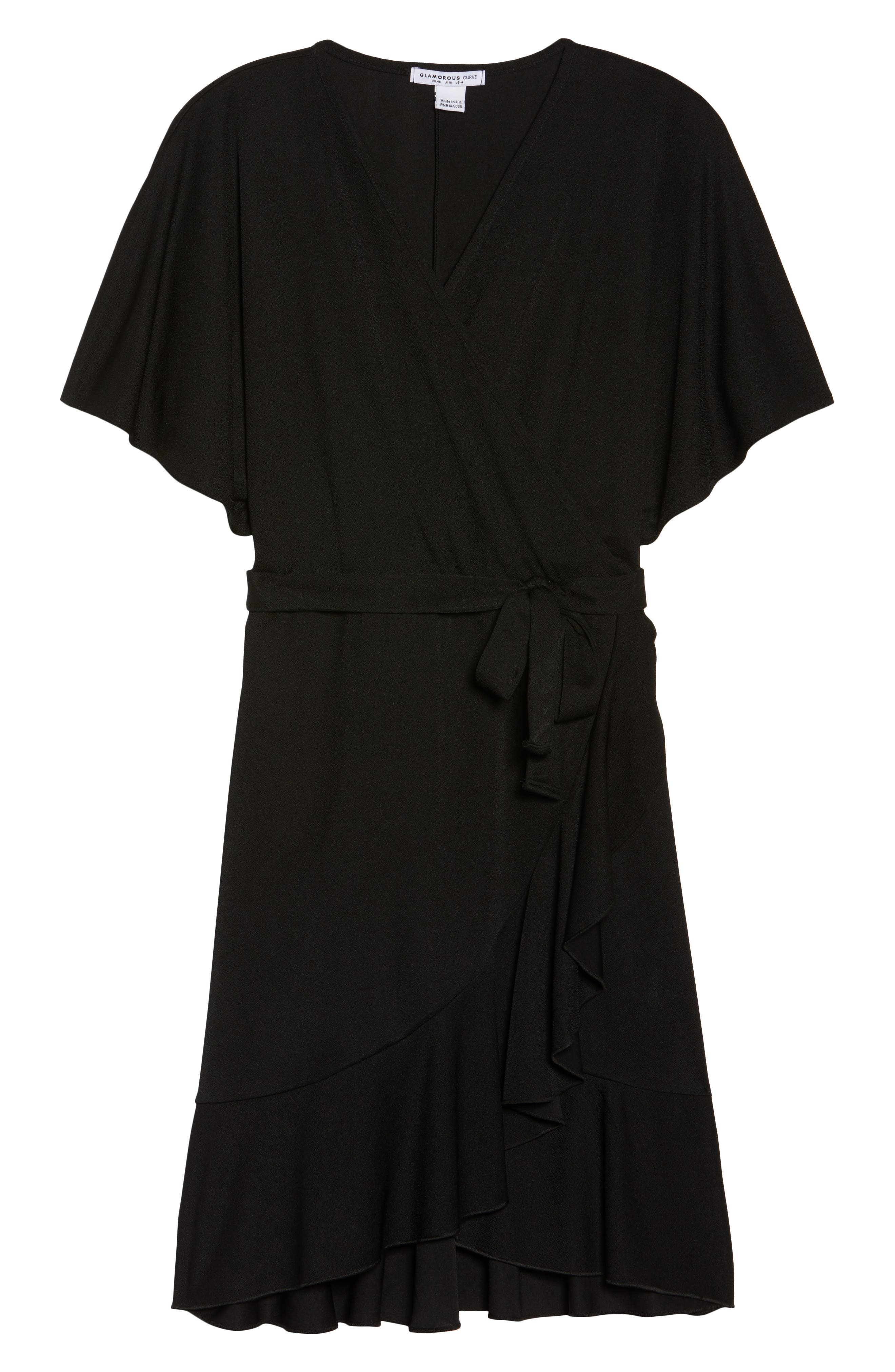 Flutter Sleeve Wrap Dress,                             Alternate thumbnail 6, color,
