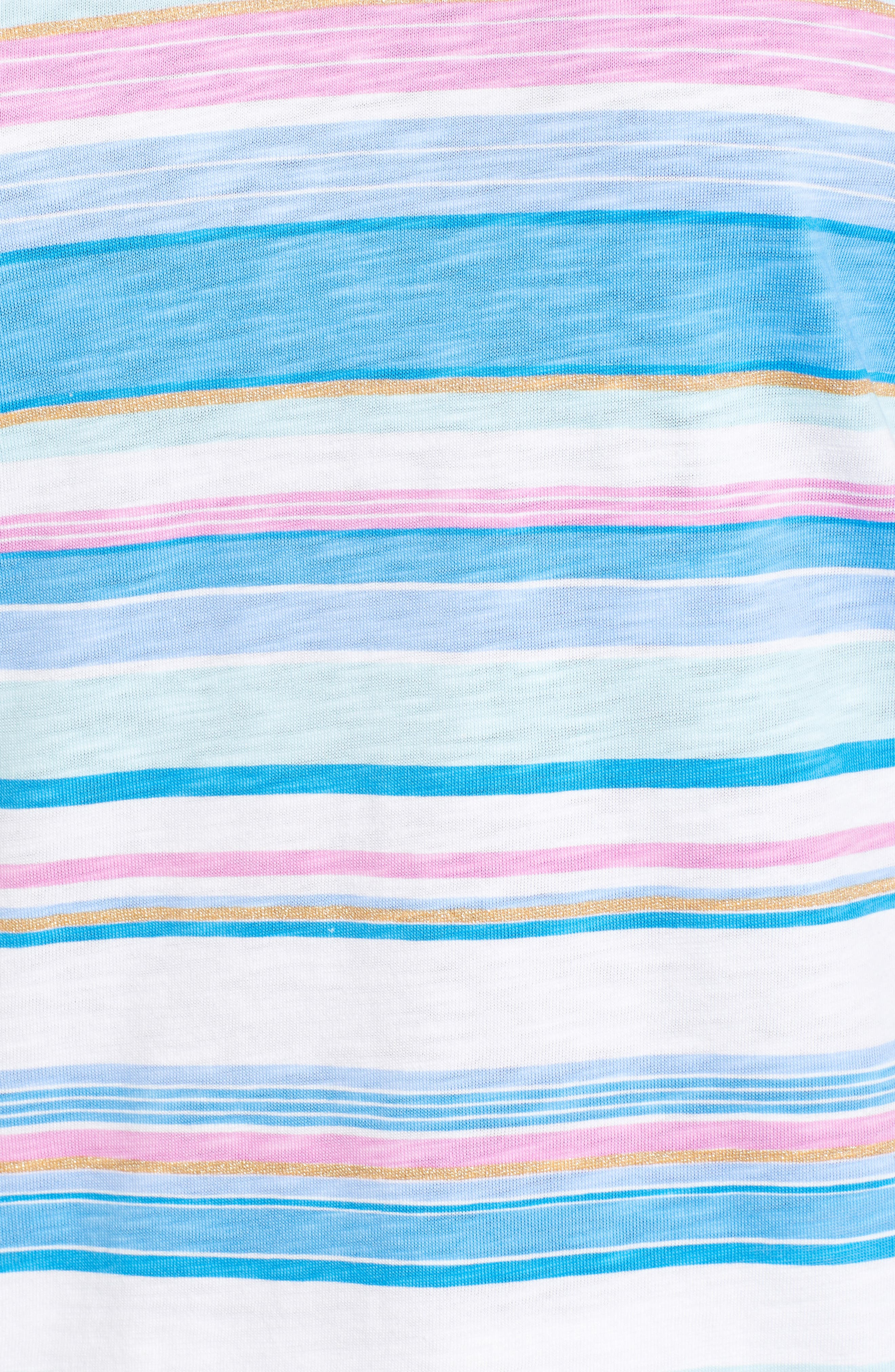 Festival Stripe Bell Sleeve Pima Cotton Top,                             Alternate thumbnail 5, color,                             BLUE ASTER