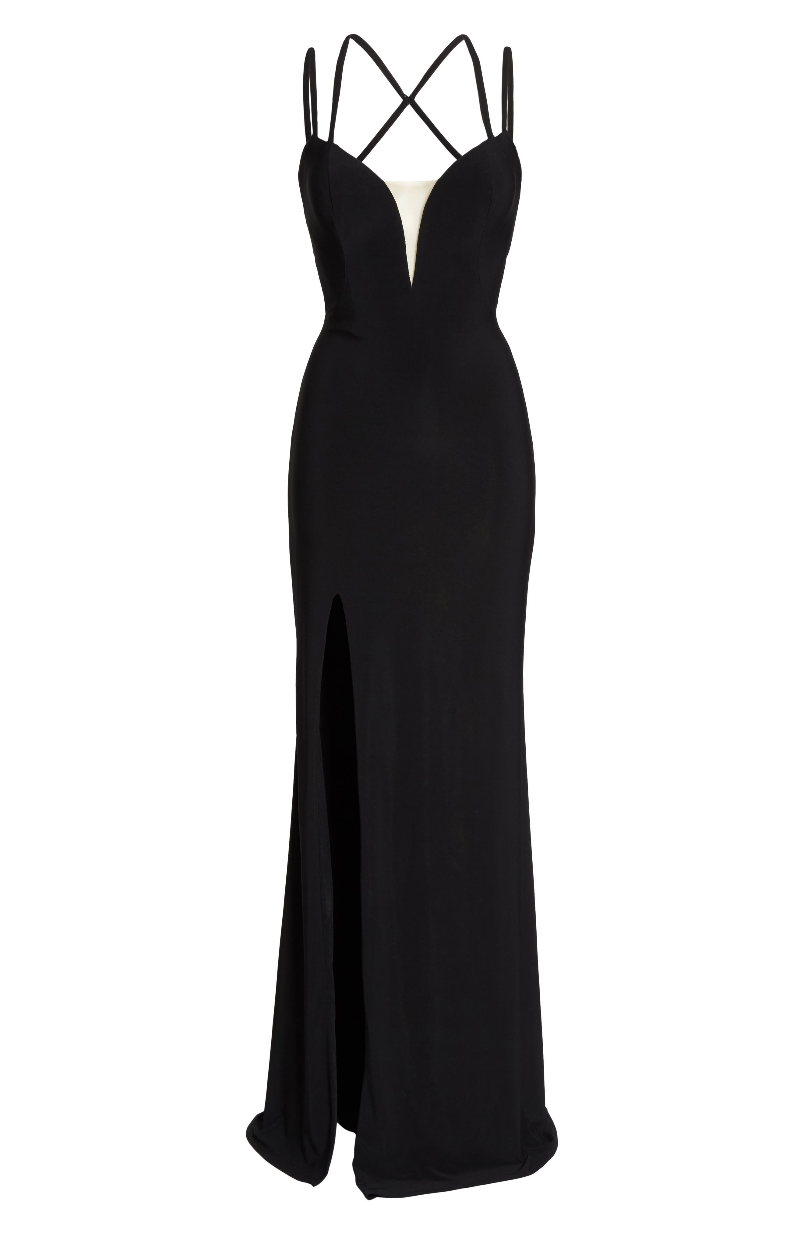 Open Back Jersey Gown,                             Alternate thumbnail 7, color,                             BLACK