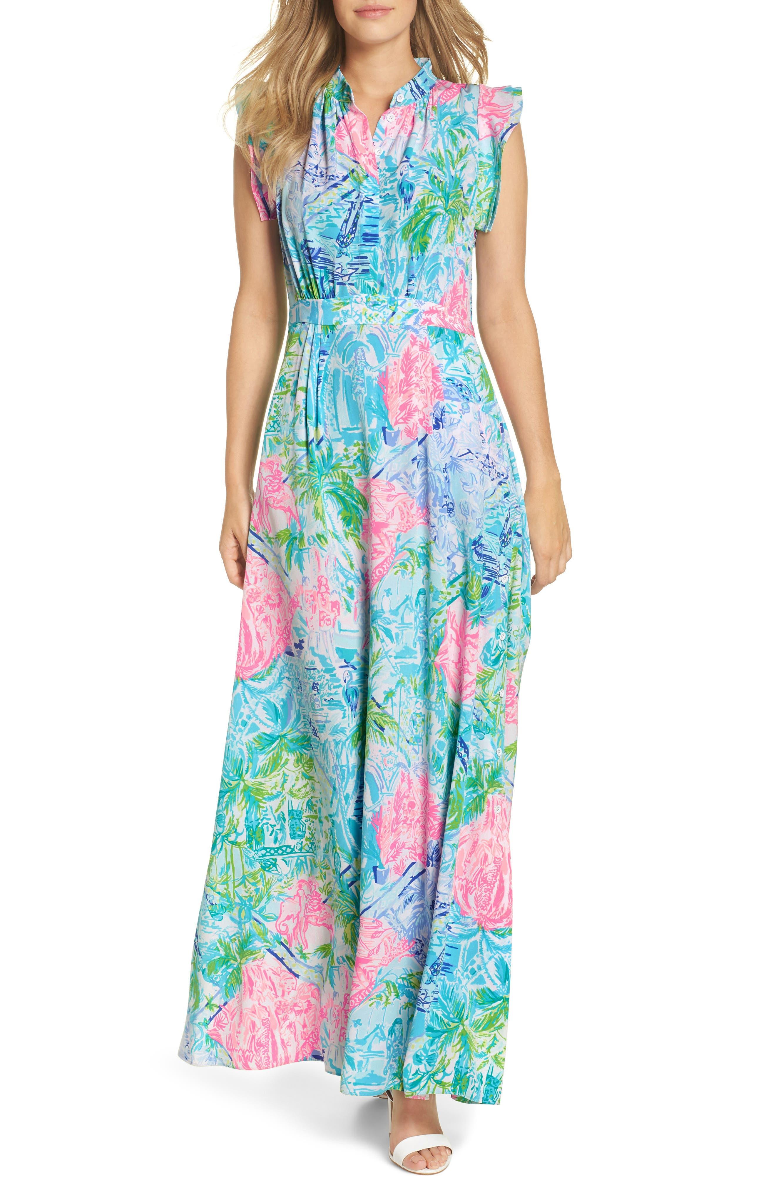 Lilly Pulitzer Palm Beach Silk Maxi Dress, Blue/green
