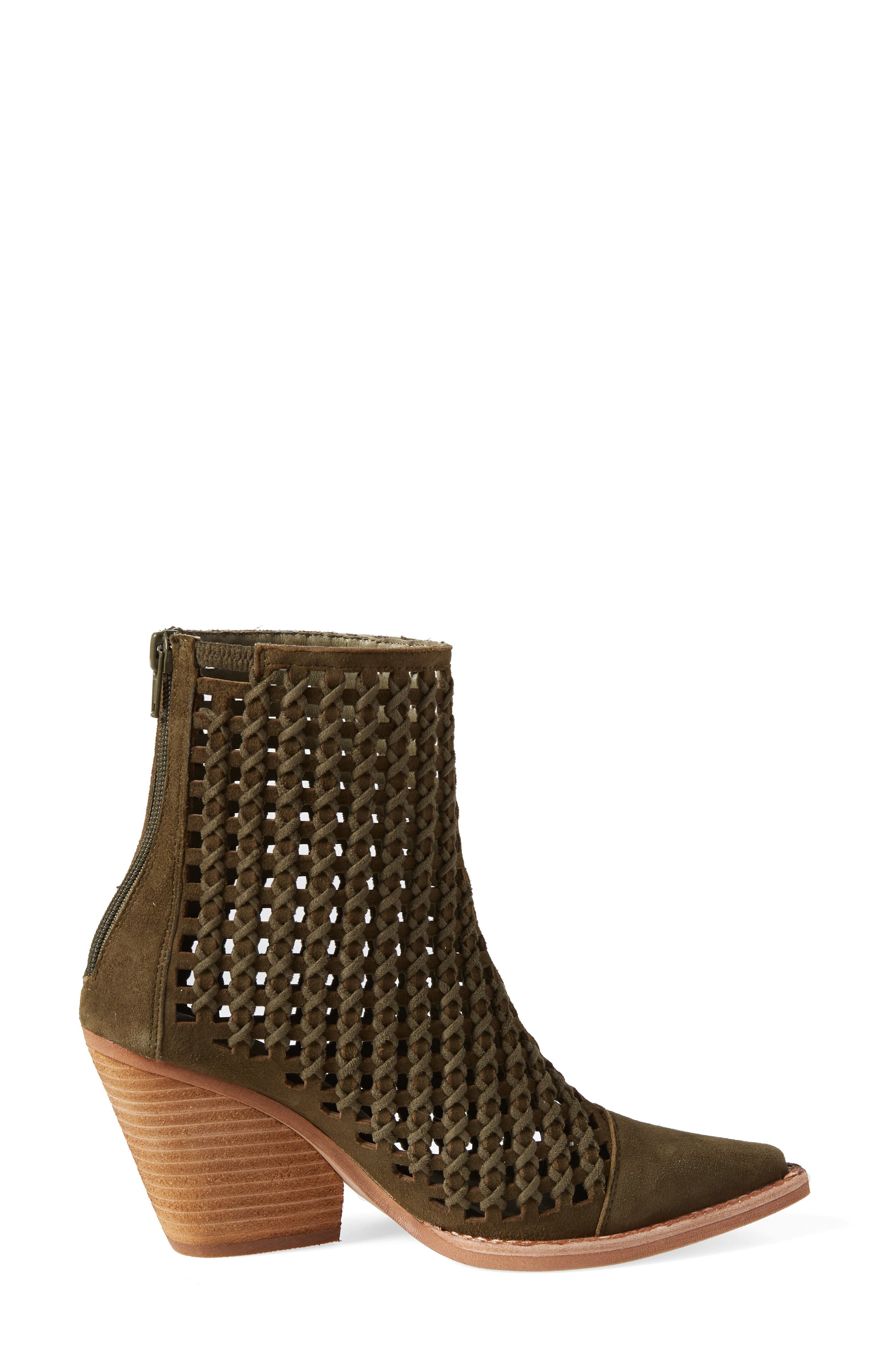 Oakwood Perforated Bootie,                             Alternate thumbnail 3, color,                             KHAKI SUEDE