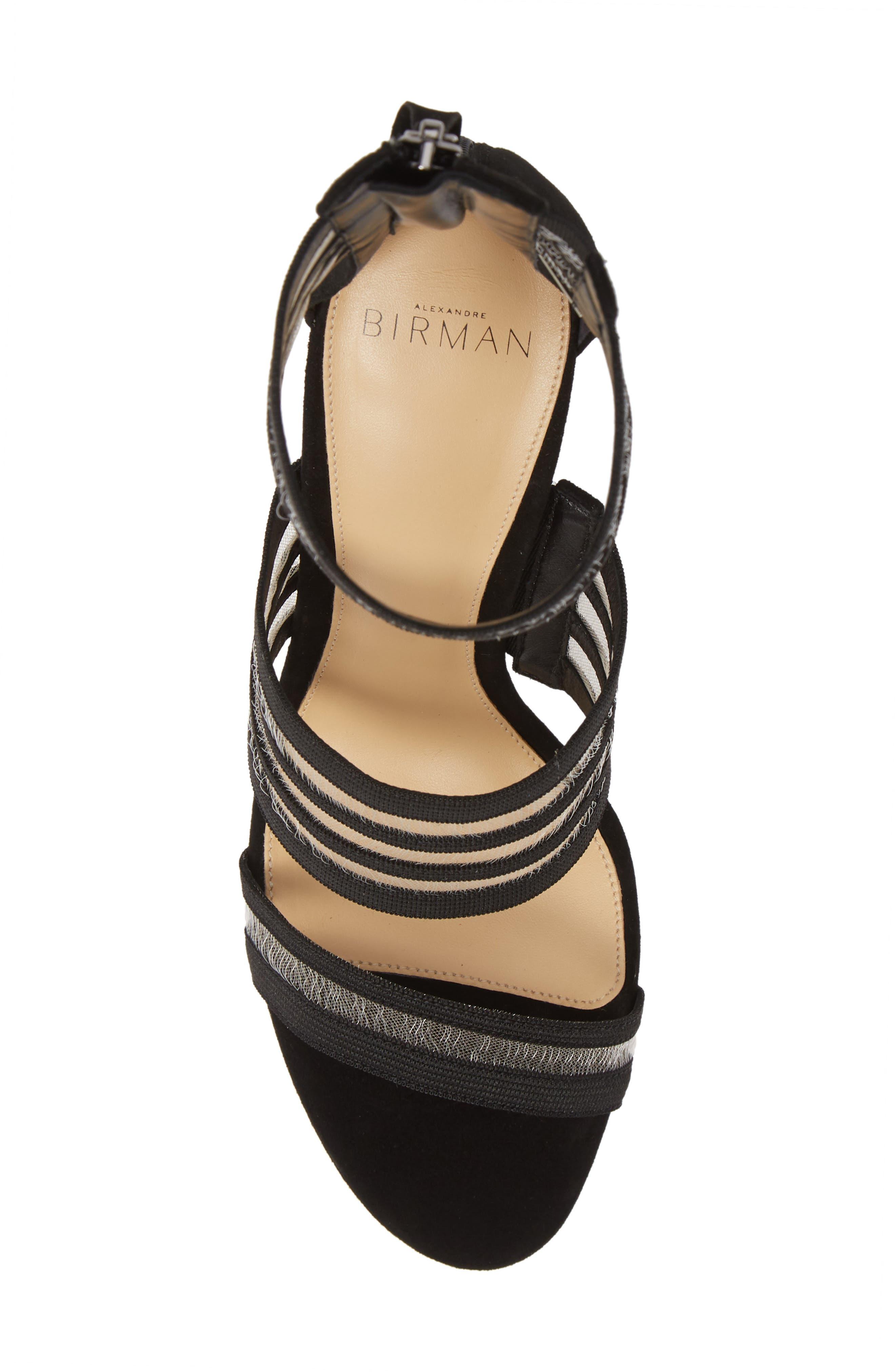 Shadow Ankle Strap Sandal,                             Alternate thumbnail 5, color,                             BLACK