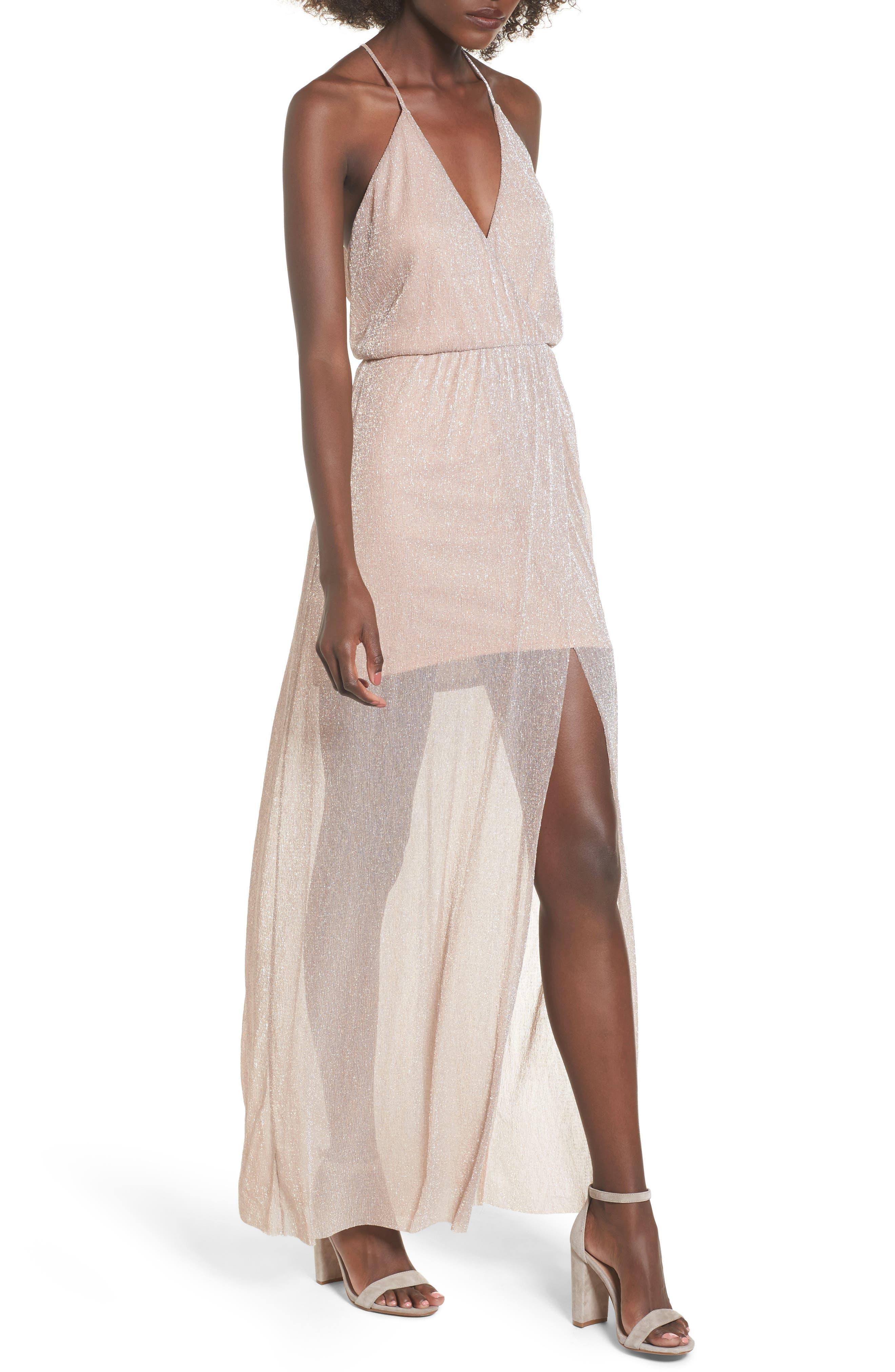 Metallic Surplice Maxi Dress,                             Main thumbnail 2, color,