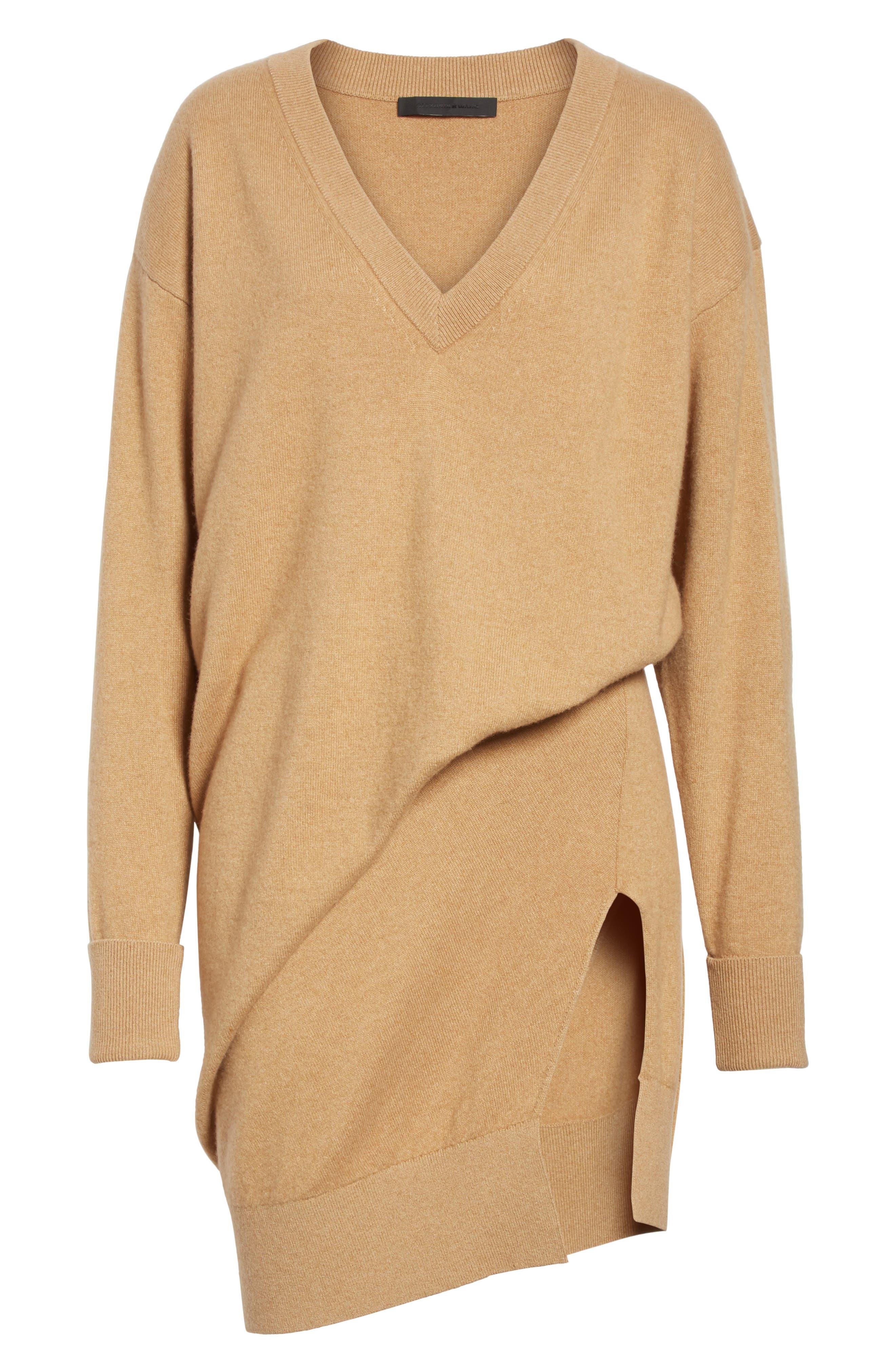 Asymmetrical Wool & Cashmere Blend Sweater Dress,                             Alternate thumbnail 6, color,                             204