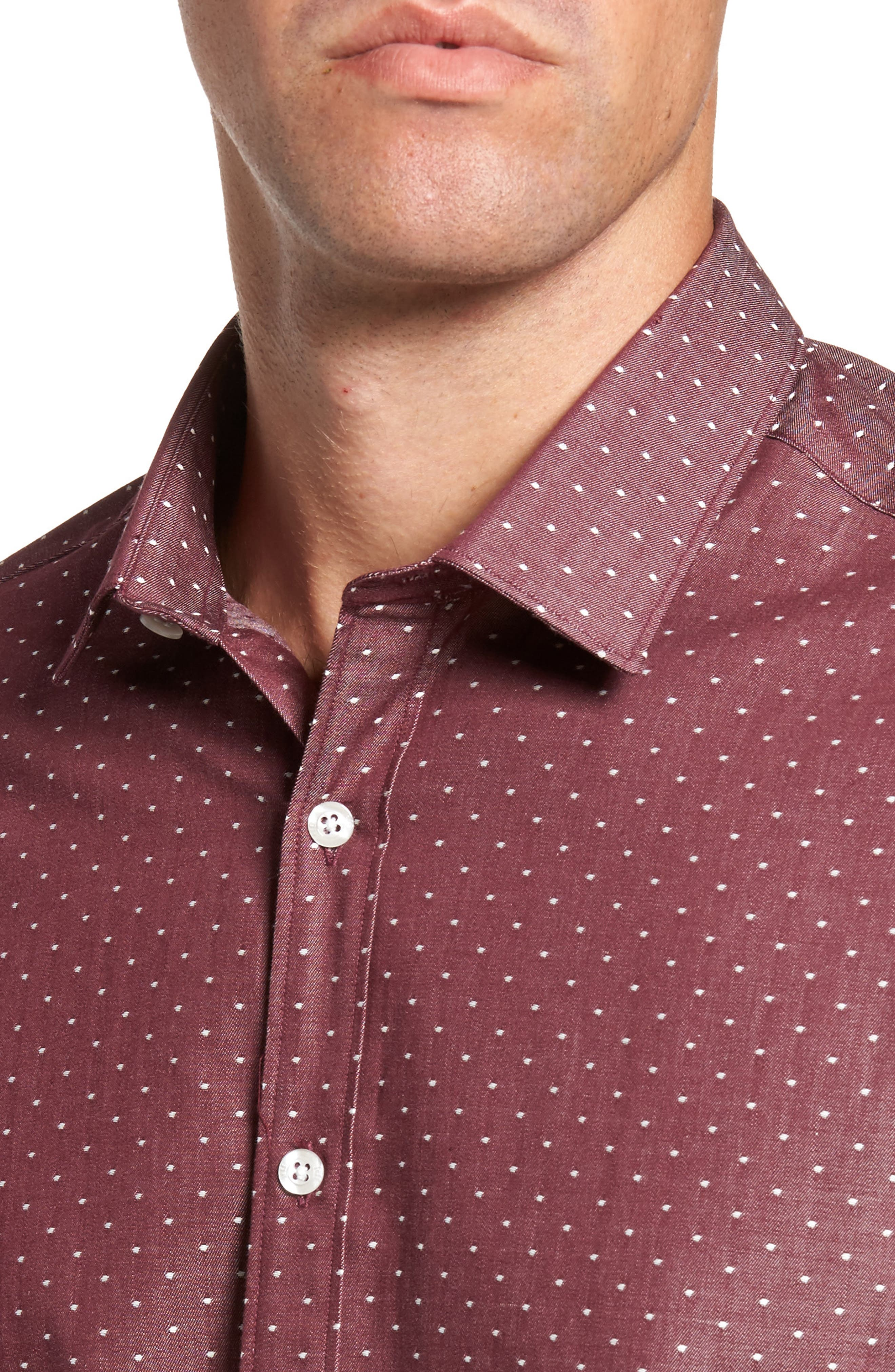 Slim Fit Dot Print Sport Shirt,                             Alternate thumbnail 4, color,                             930