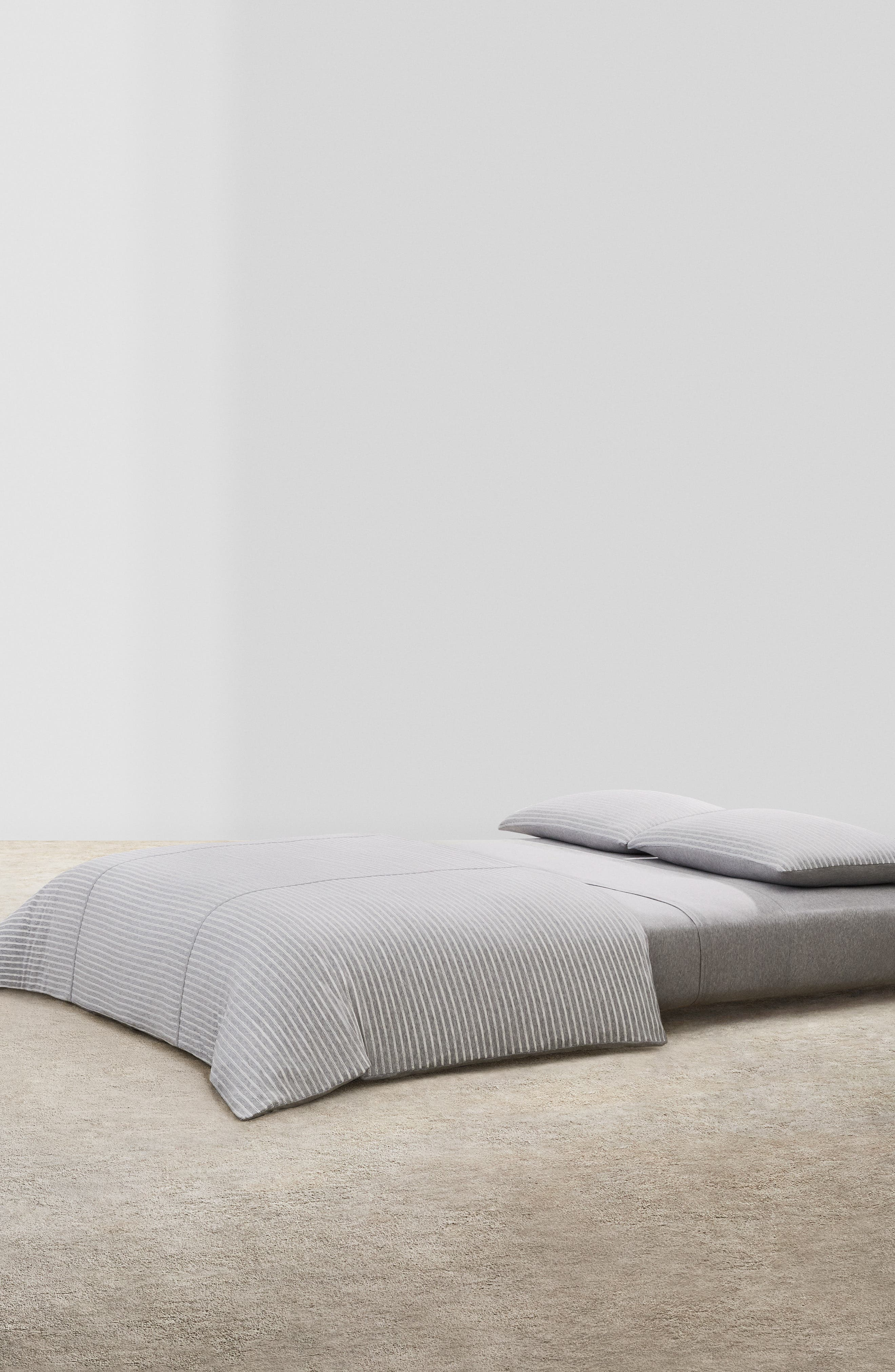 CALVIN KLEIN HOME,                             Lennox Duvet Cover,                             Main thumbnail 1, color,                             HEATHER GREY/ CREAM