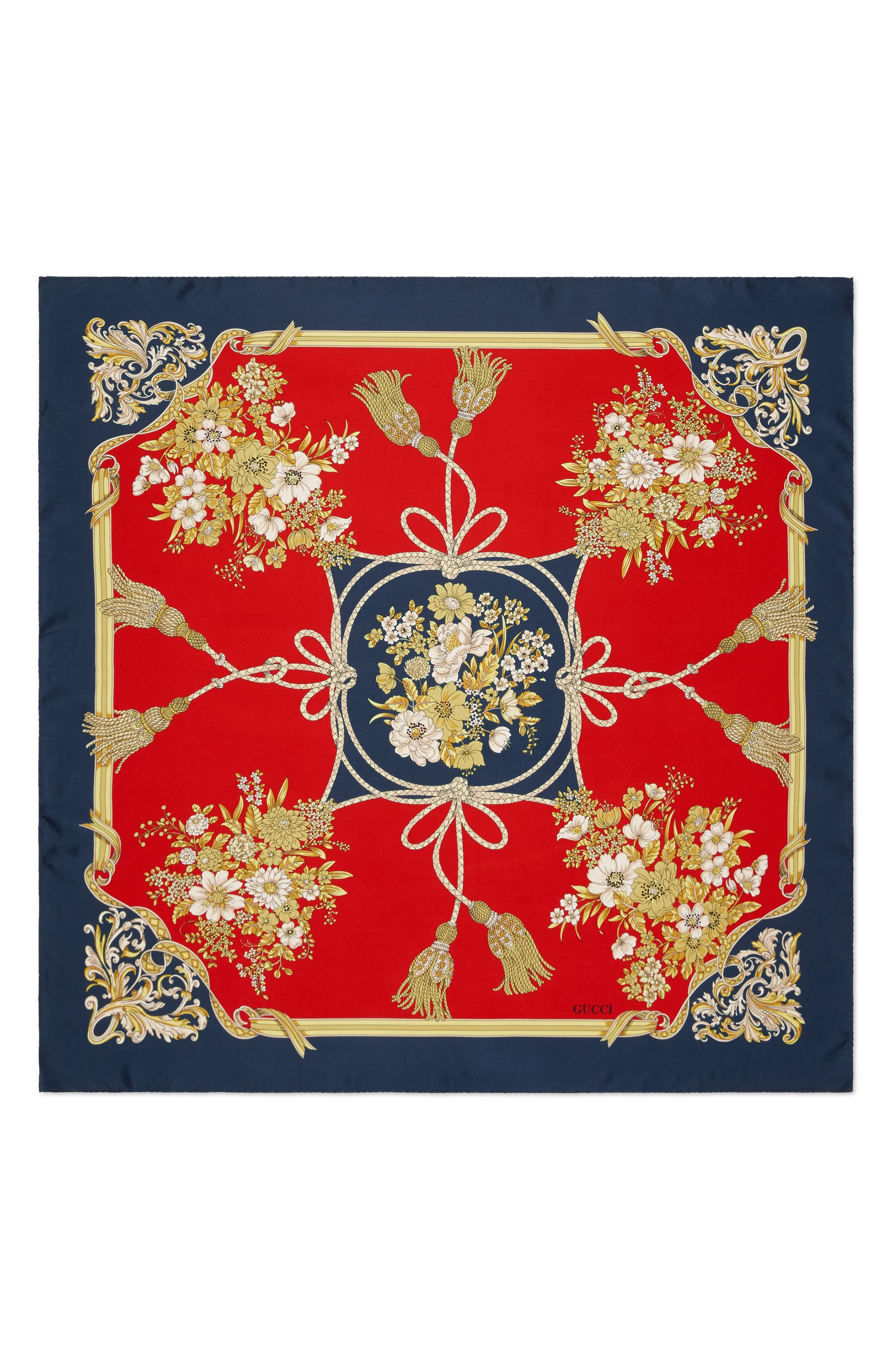 Lady Intrigue Square Silk Scarf,                             Main thumbnail 1, color,                             RED/ BLUE