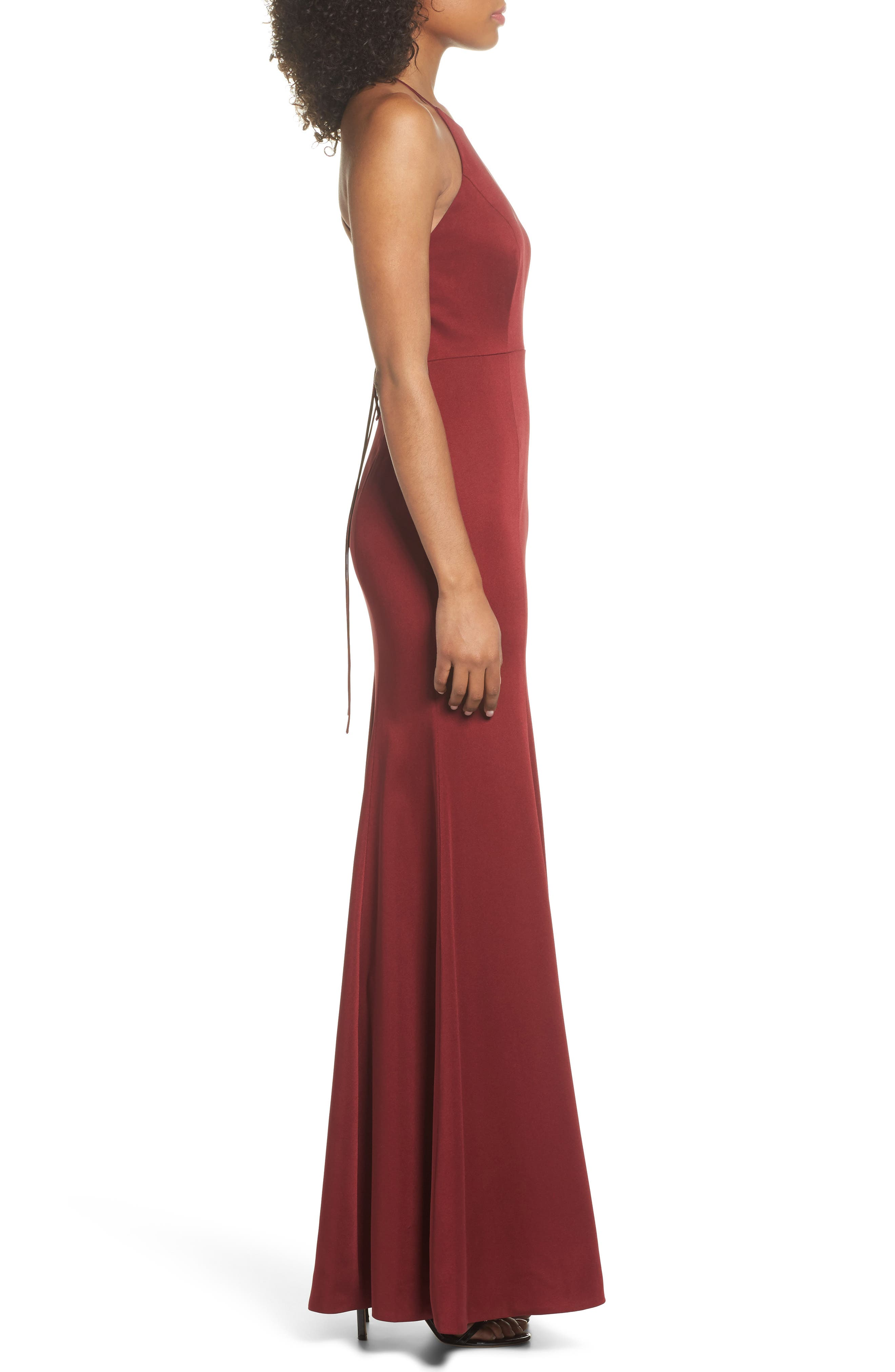 Naomi Luxe Crepe Halter Gown,                             Alternate thumbnail 3, color,                             CRANBERRY