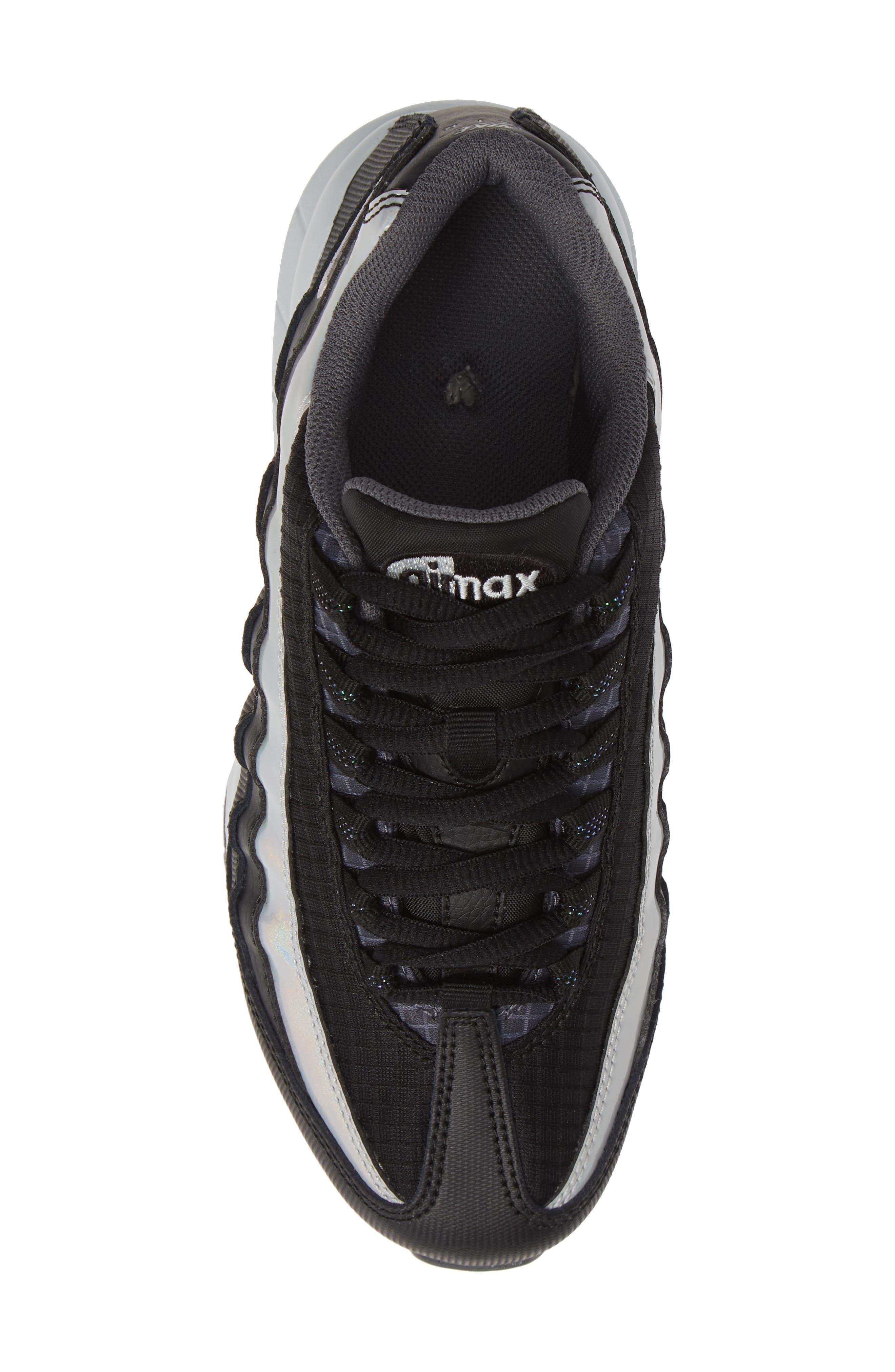 Air Max 95 Y2K Sneaker,                             Alternate thumbnail 5, color,                             BLACK METALLIC SILVER
