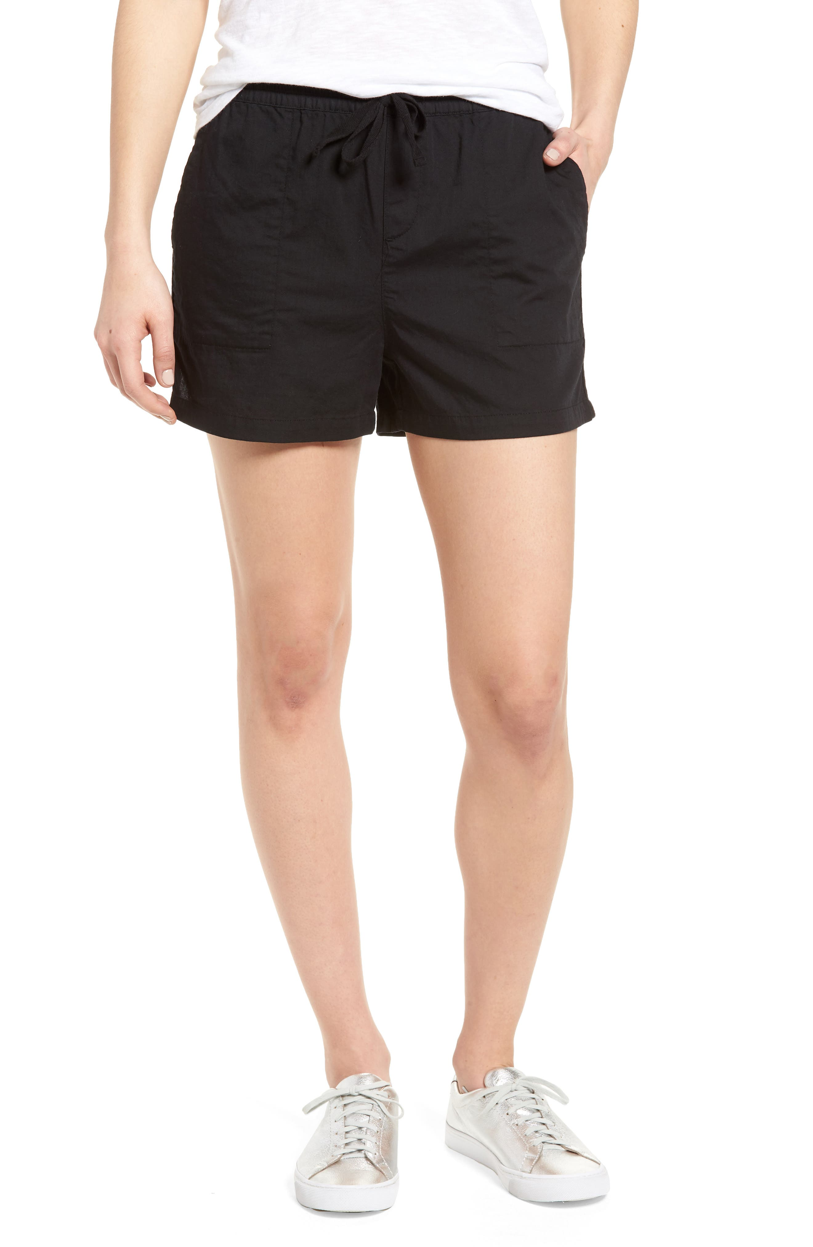 Pull-On Twill Shorts,                             Main thumbnail 1, color,                             001