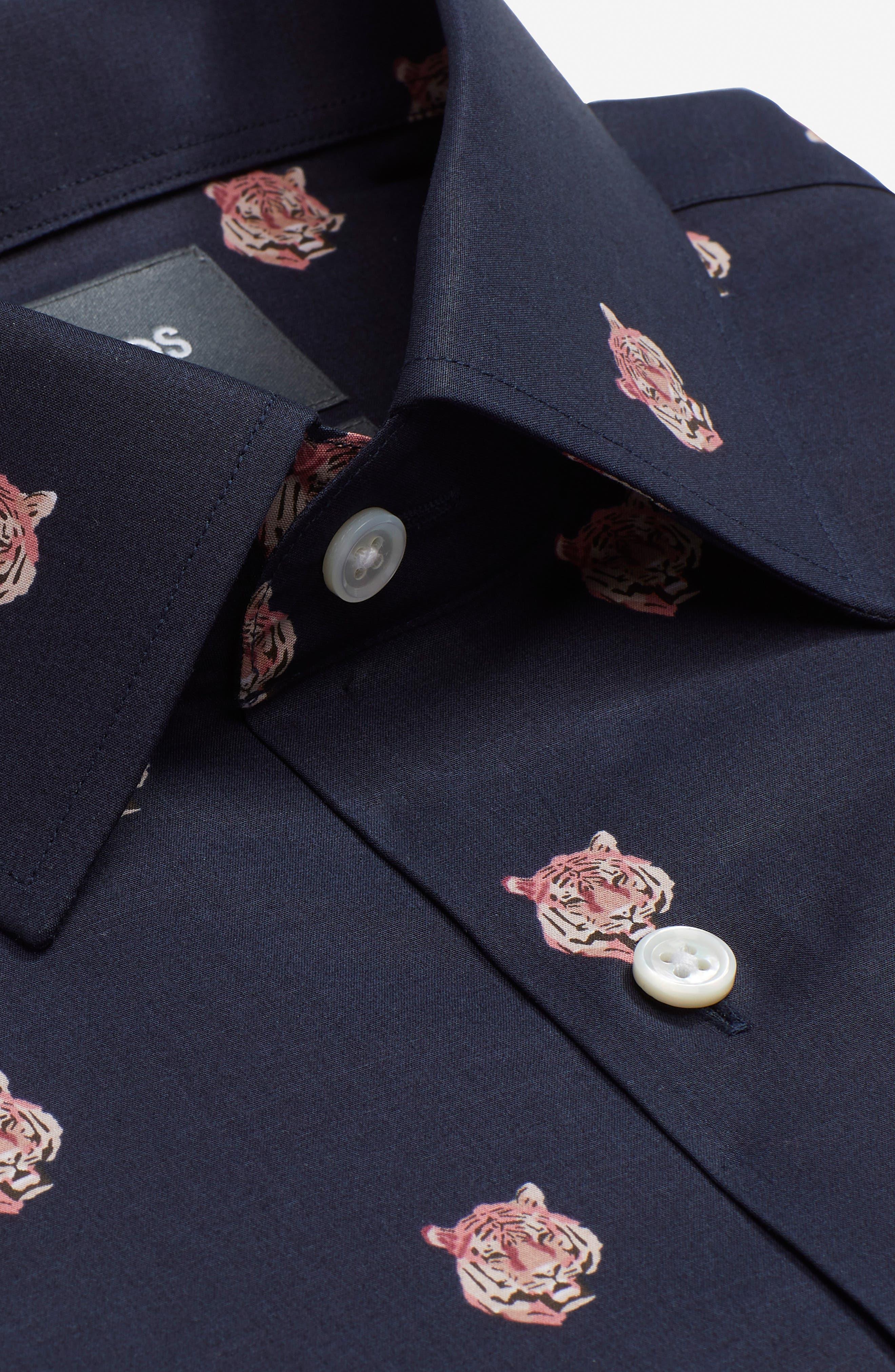 Tiger Head Slim Fit Stretch Print Dress Shirt,                             Alternate thumbnail 3, color,                             001