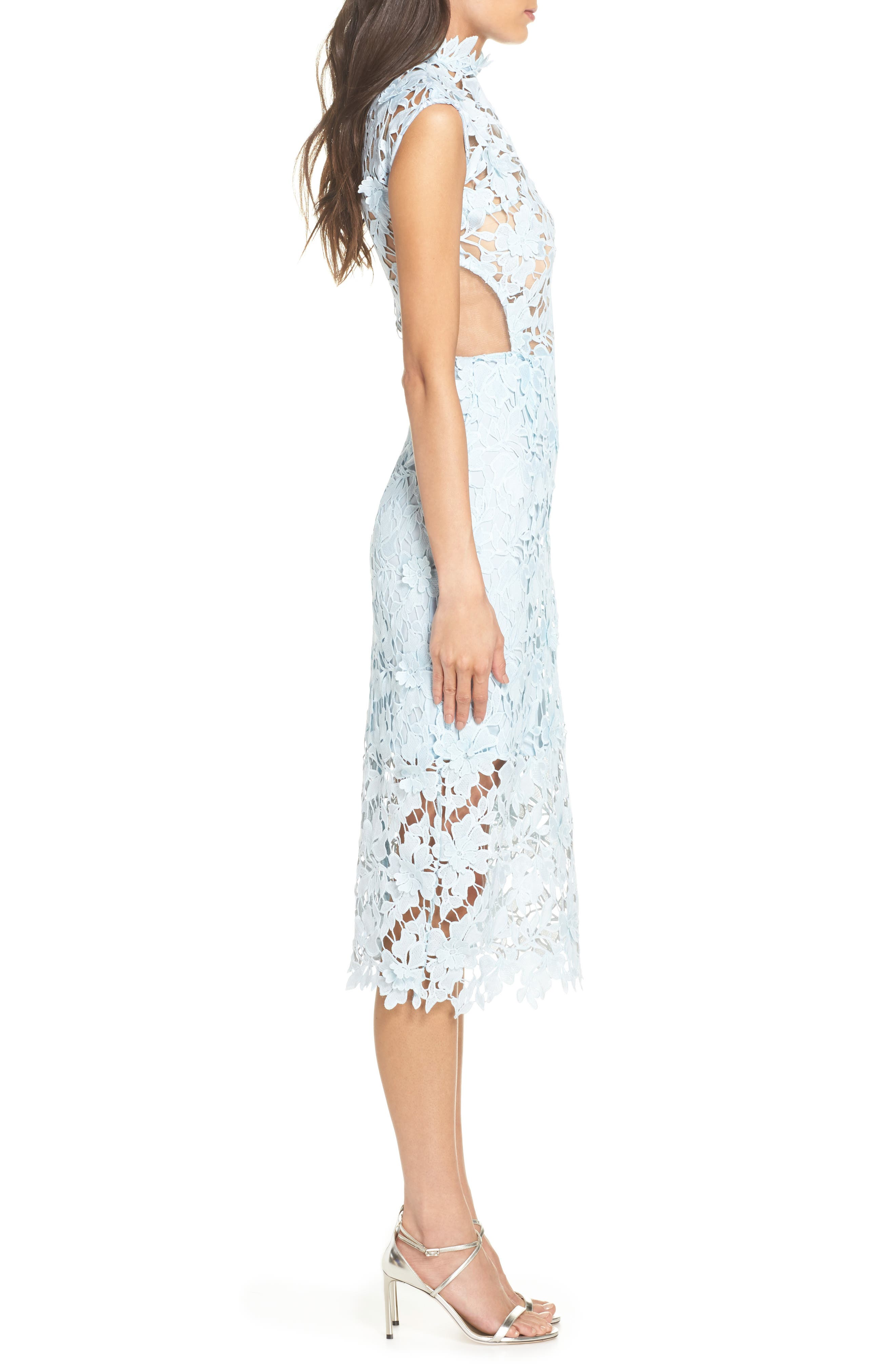 Lidia Lace Midi Dress,                             Alternate thumbnail 3, color,                             BLUE