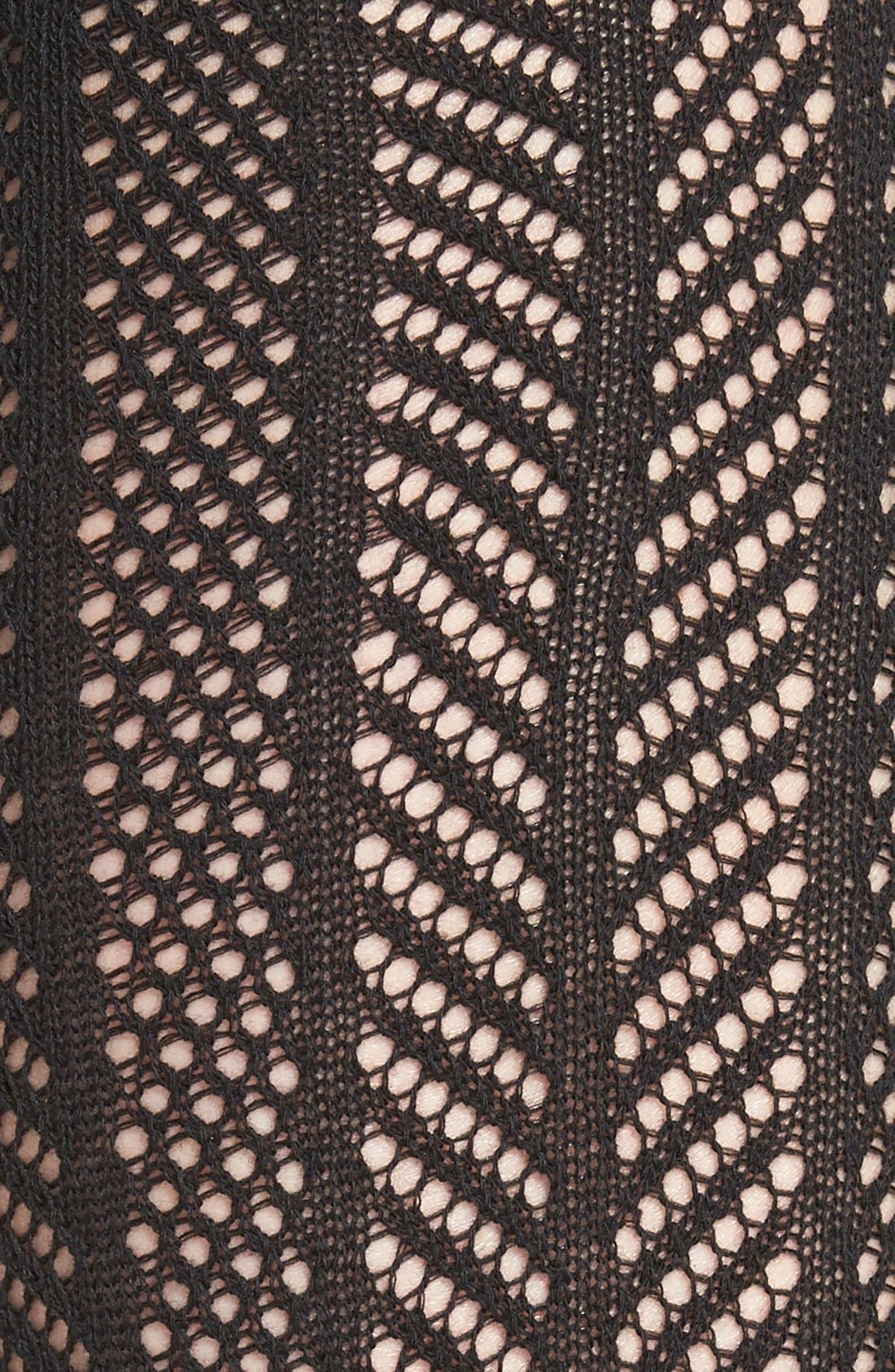 Openwork Knit Thigh High Socks,                             Alternate thumbnail 3, color,                             001