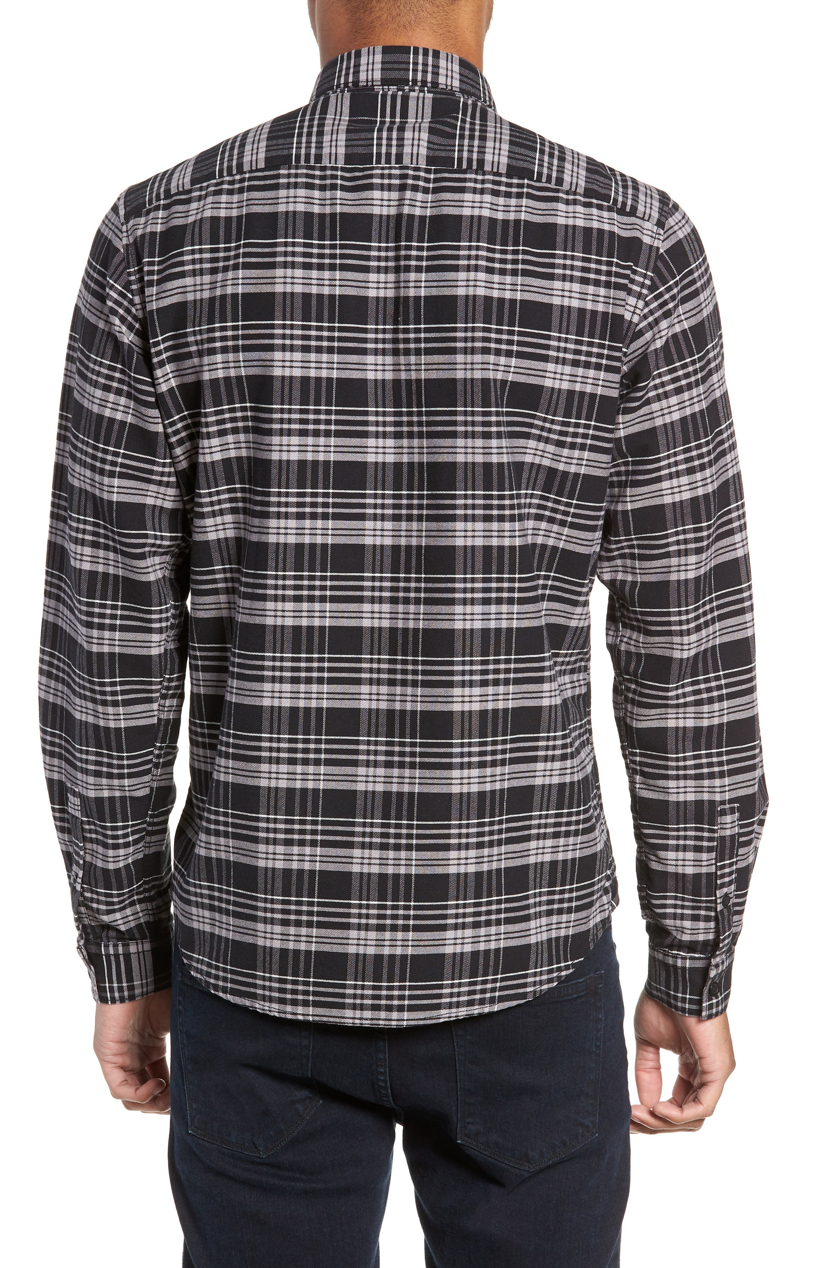 Roy Plaid Sport Shirt,                             Alternate thumbnail 3, color,                             BLACK CHECK