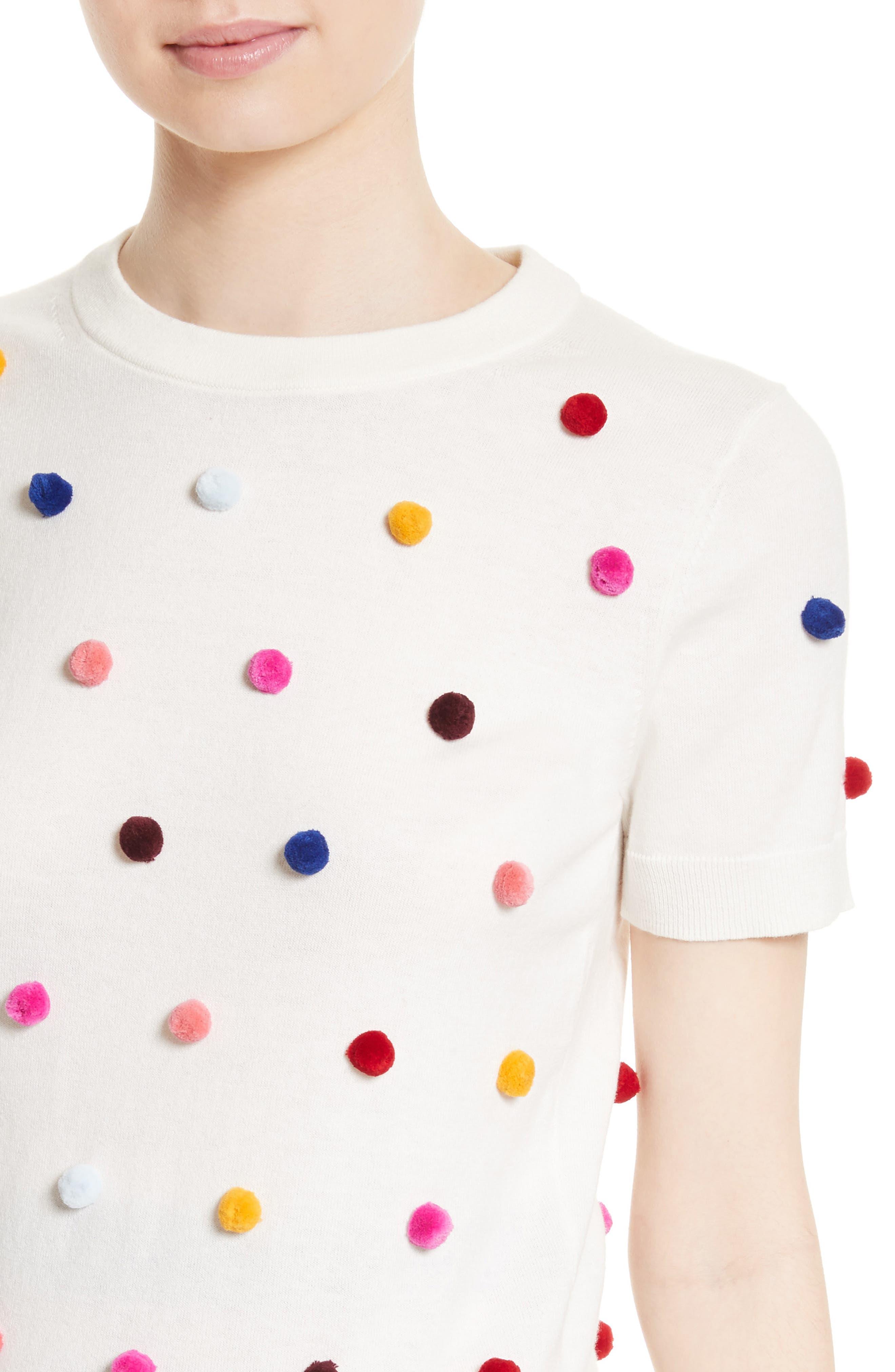 pom embellished cotton & cashmere sweater,                             Alternate thumbnail 4, color,                             900