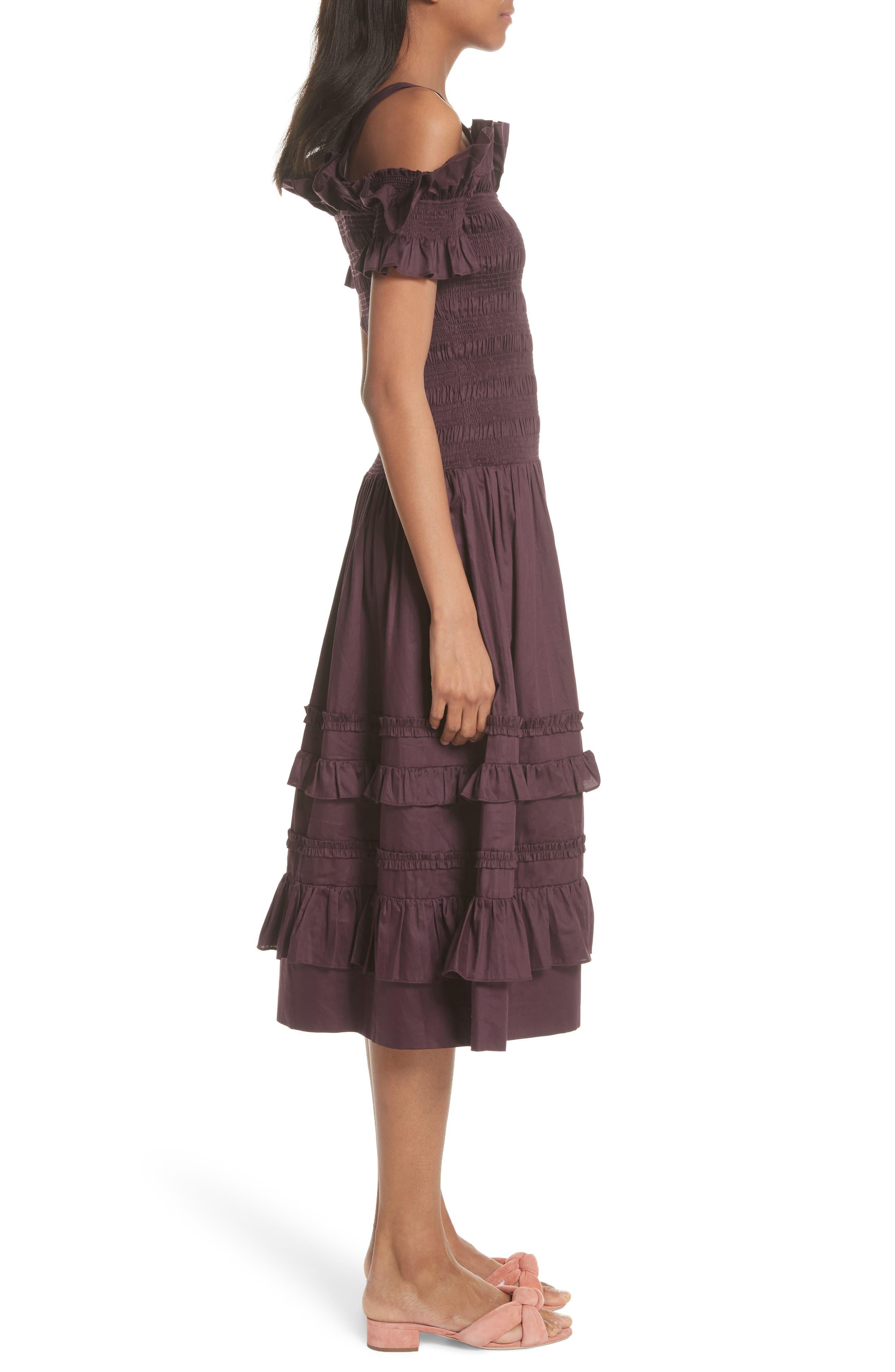 Cold Shoulder Smocked Cotton Dress,                             Alternate thumbnail 3, color,                             PLUM