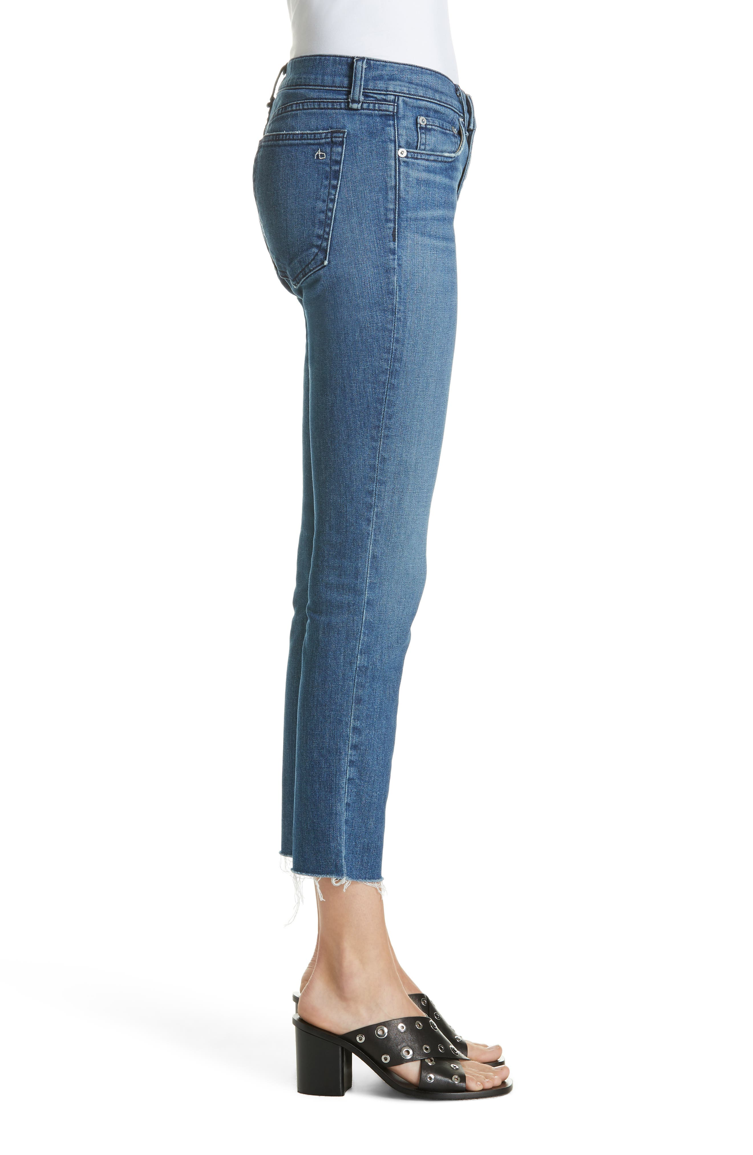 The Dre Crop Fray Hem Slim Fit Boyfriend Jeans,                             Alternate thumbnail 3, color,                             LOVIE