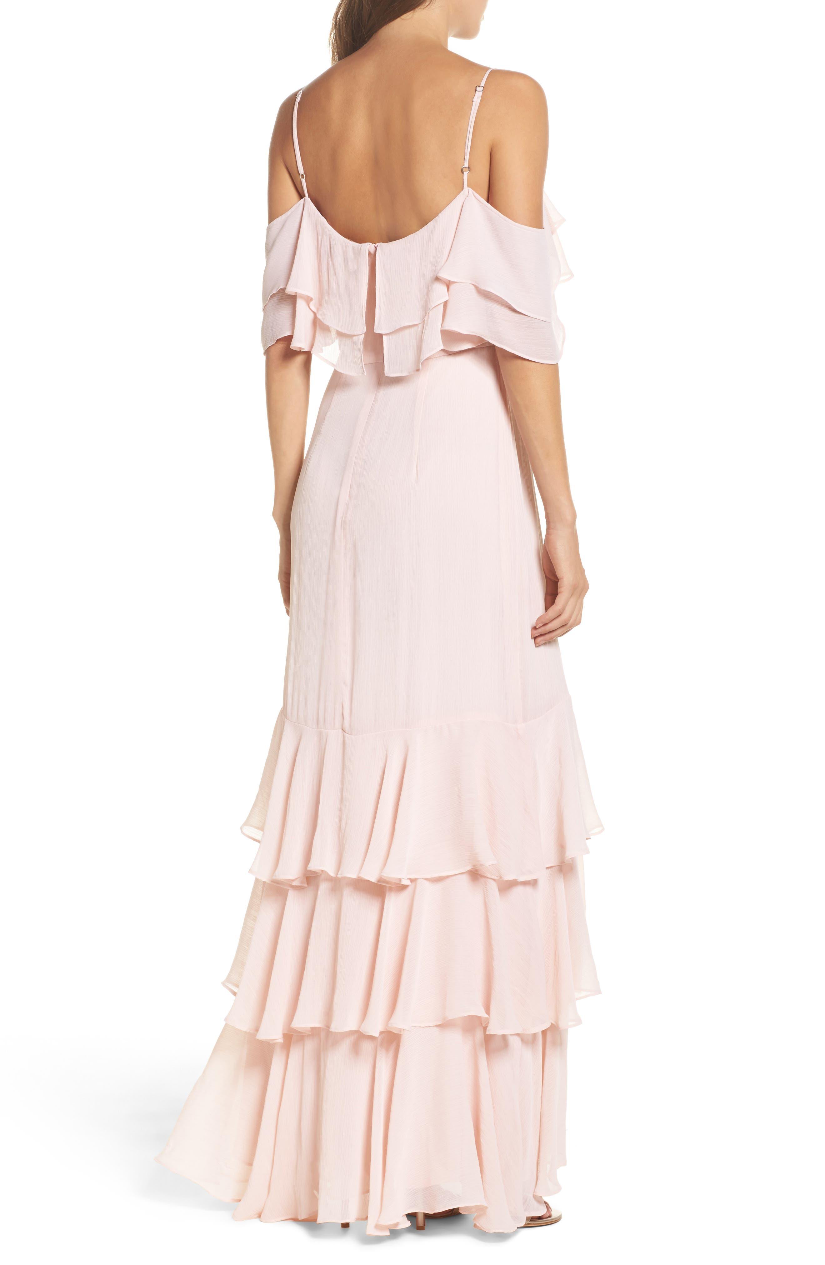 Lauren Cold Shoulder Tiered Gown,                             Alternate thumbnail 5, color,