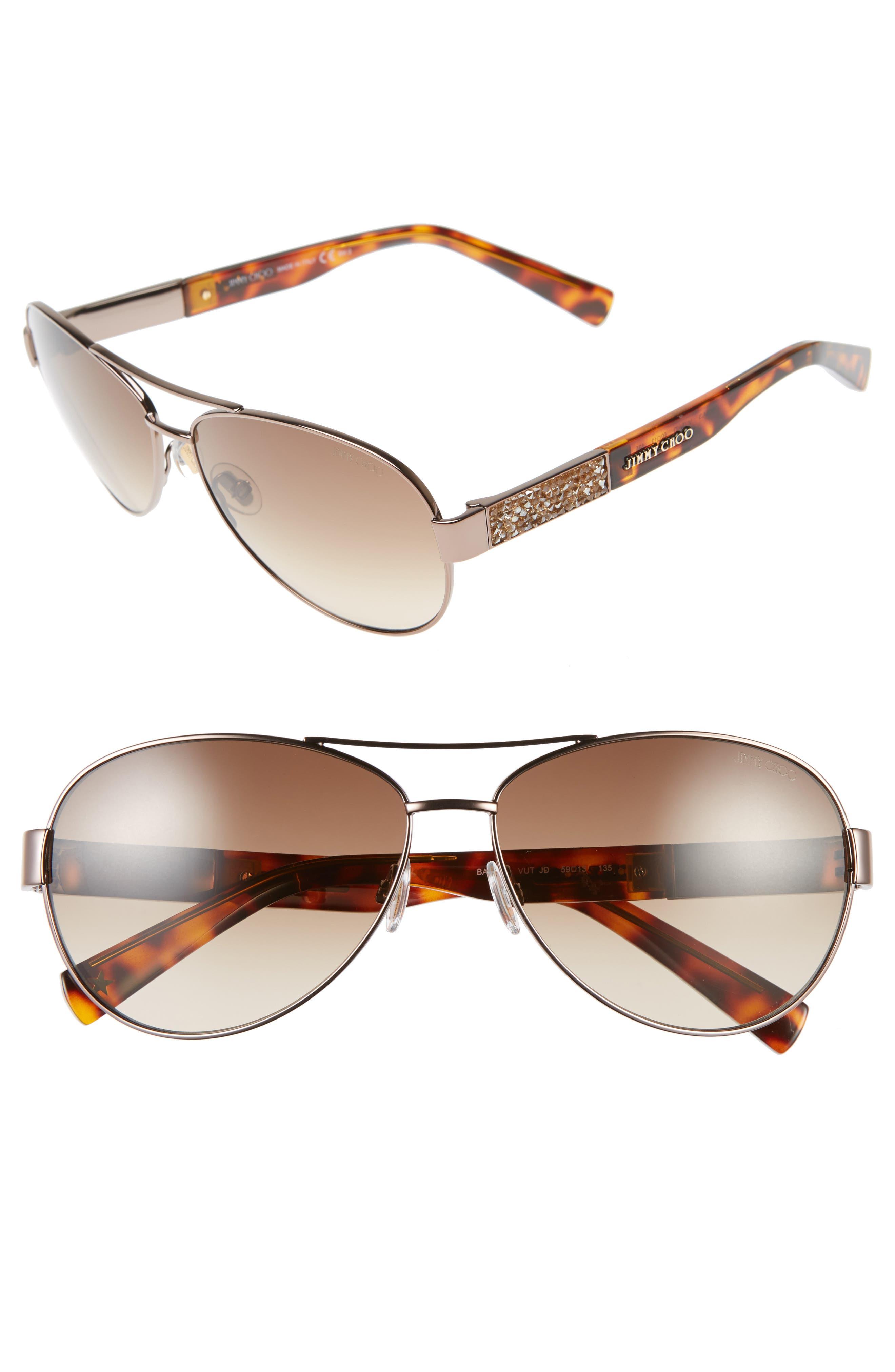 JIMMY CHOO,                             'Babas' 59mm Aviator Sunglasses,                             Alternate thumbnail 3, color,                             200