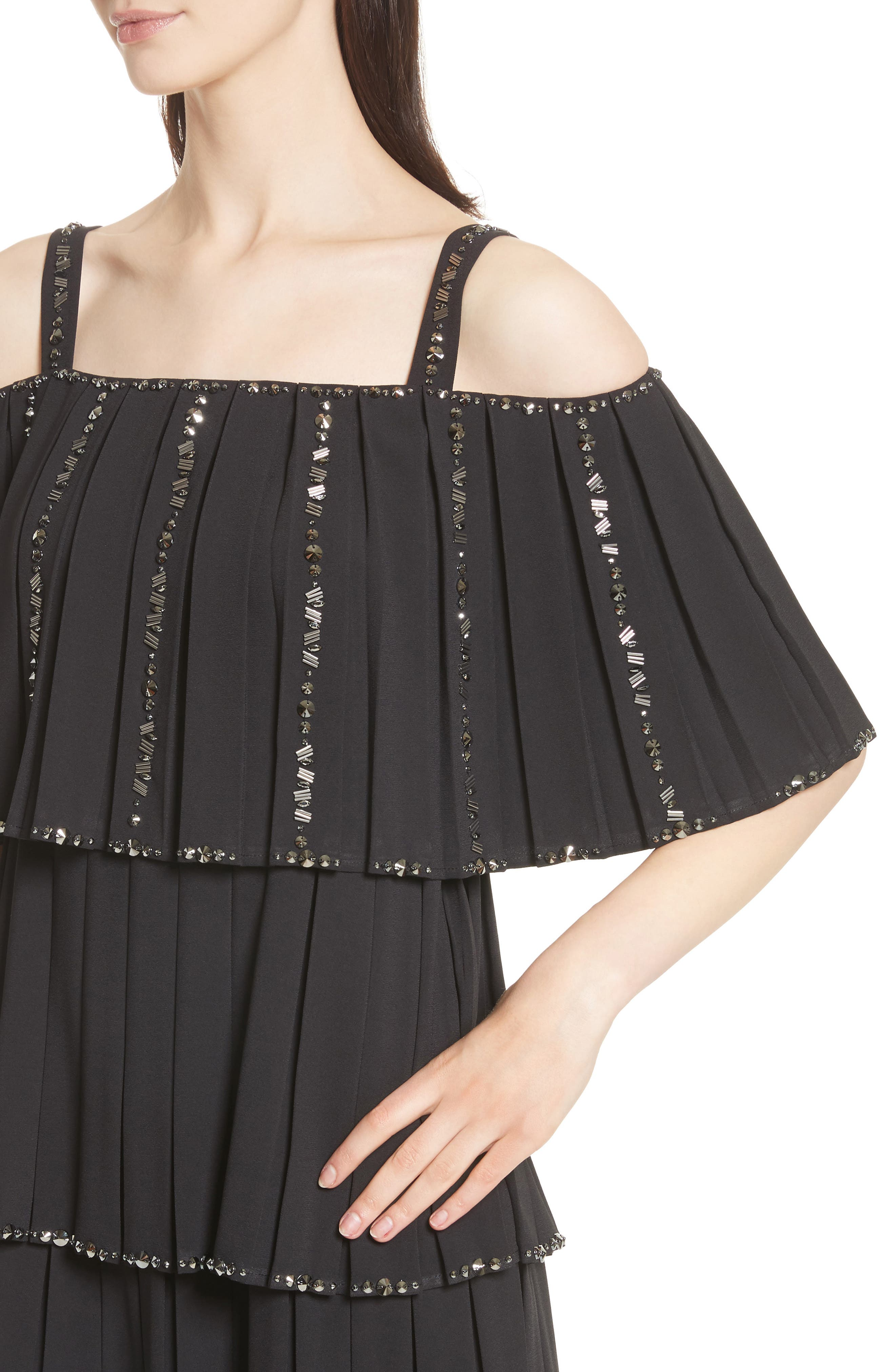 Embellished Pleat Tiered Dress,                             Alternate thumbnail 4, color,                             001