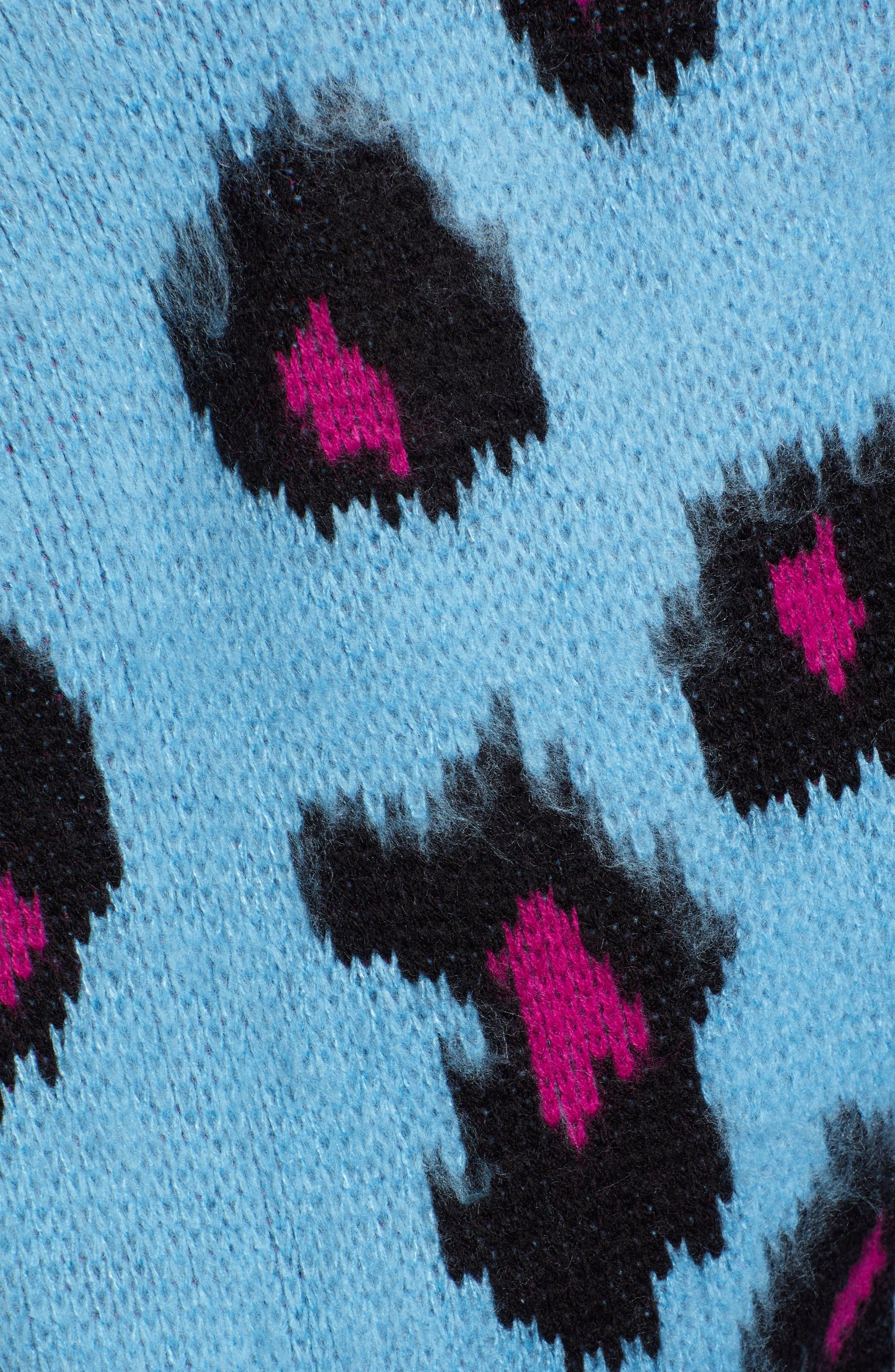 Leopard Sweater,                             Alternate thumbnail 5, color,                             BLUE MULTI