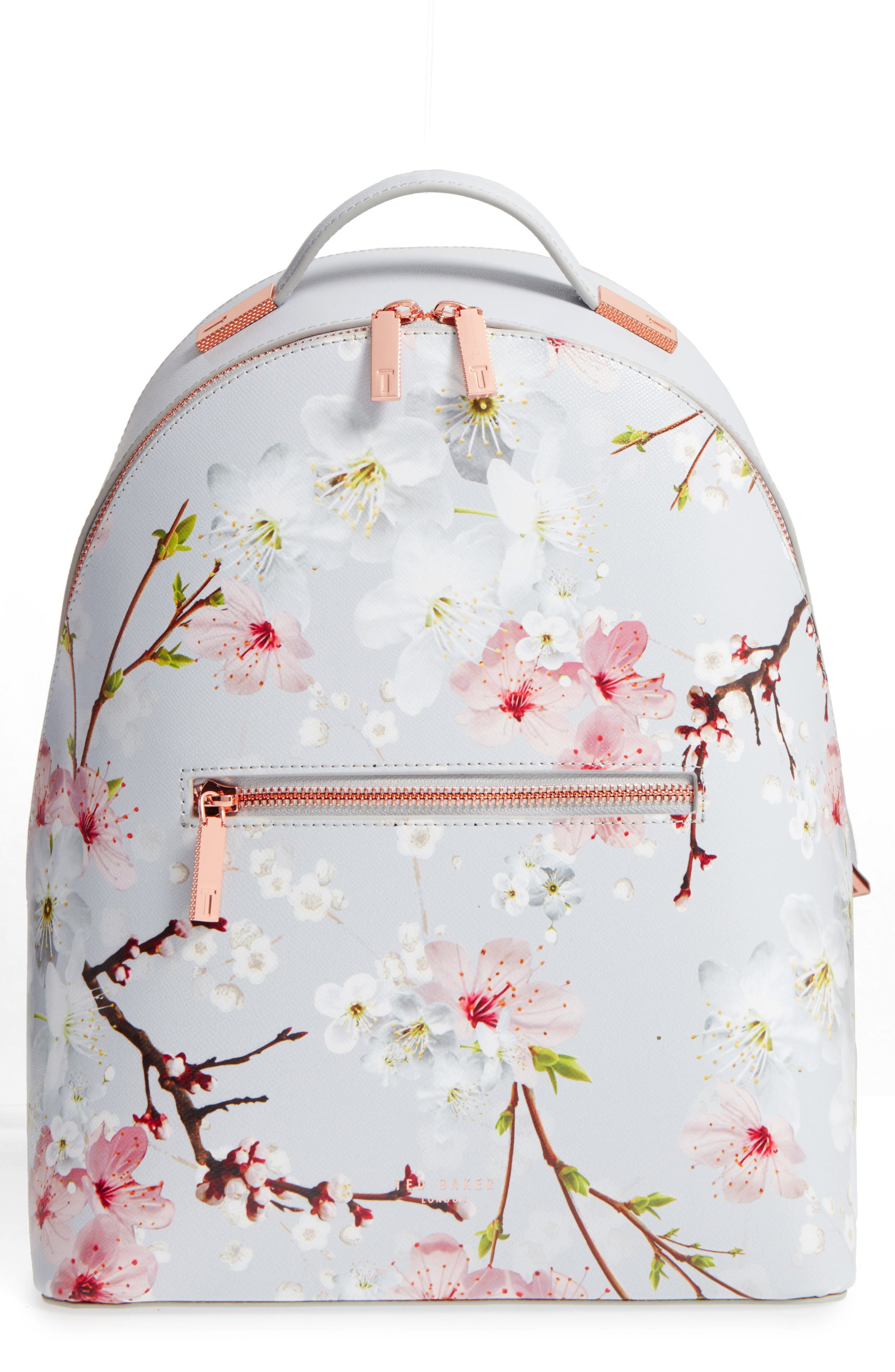Flower Print Leather Backpack,                             Main thumbnail 1, color,                             020