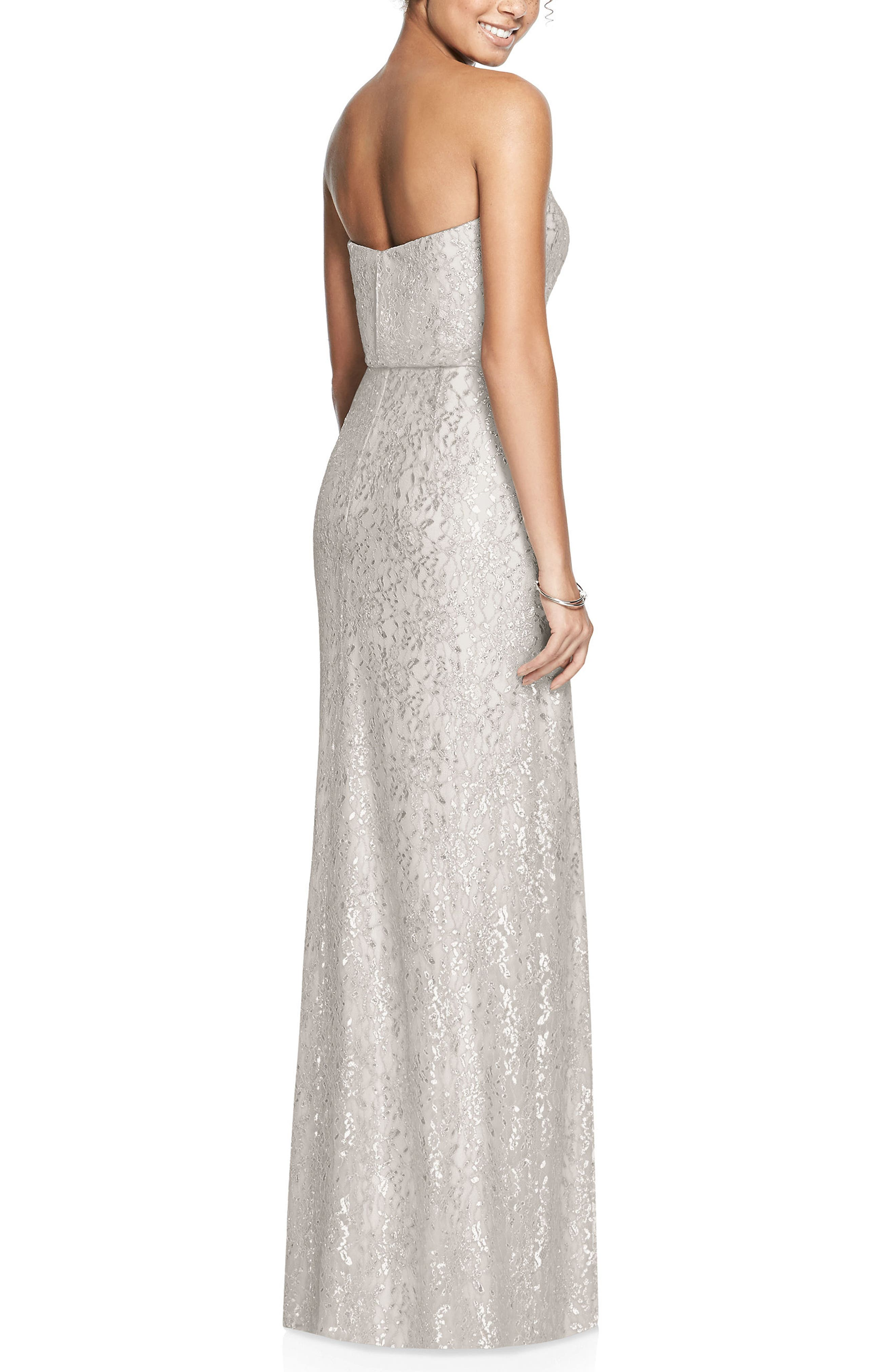 Metallic Lace Strapless Blouson Gown,                             Alternate thumbnail 2, color,                             OYSTER