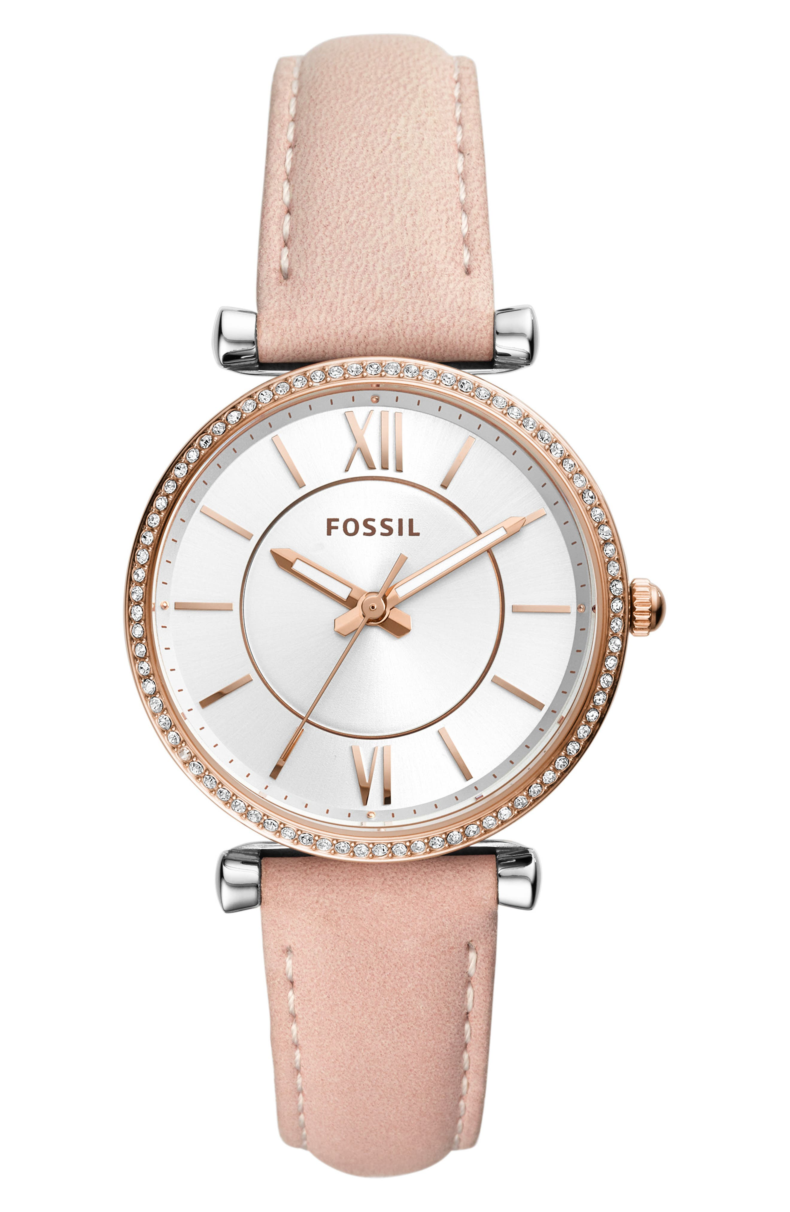 FOSSIL,                             Carlie Leather Strap Watch, 35mm,                             Main thumbnail 1, color,                             PINK/ SILVER/ ROSE GOLD