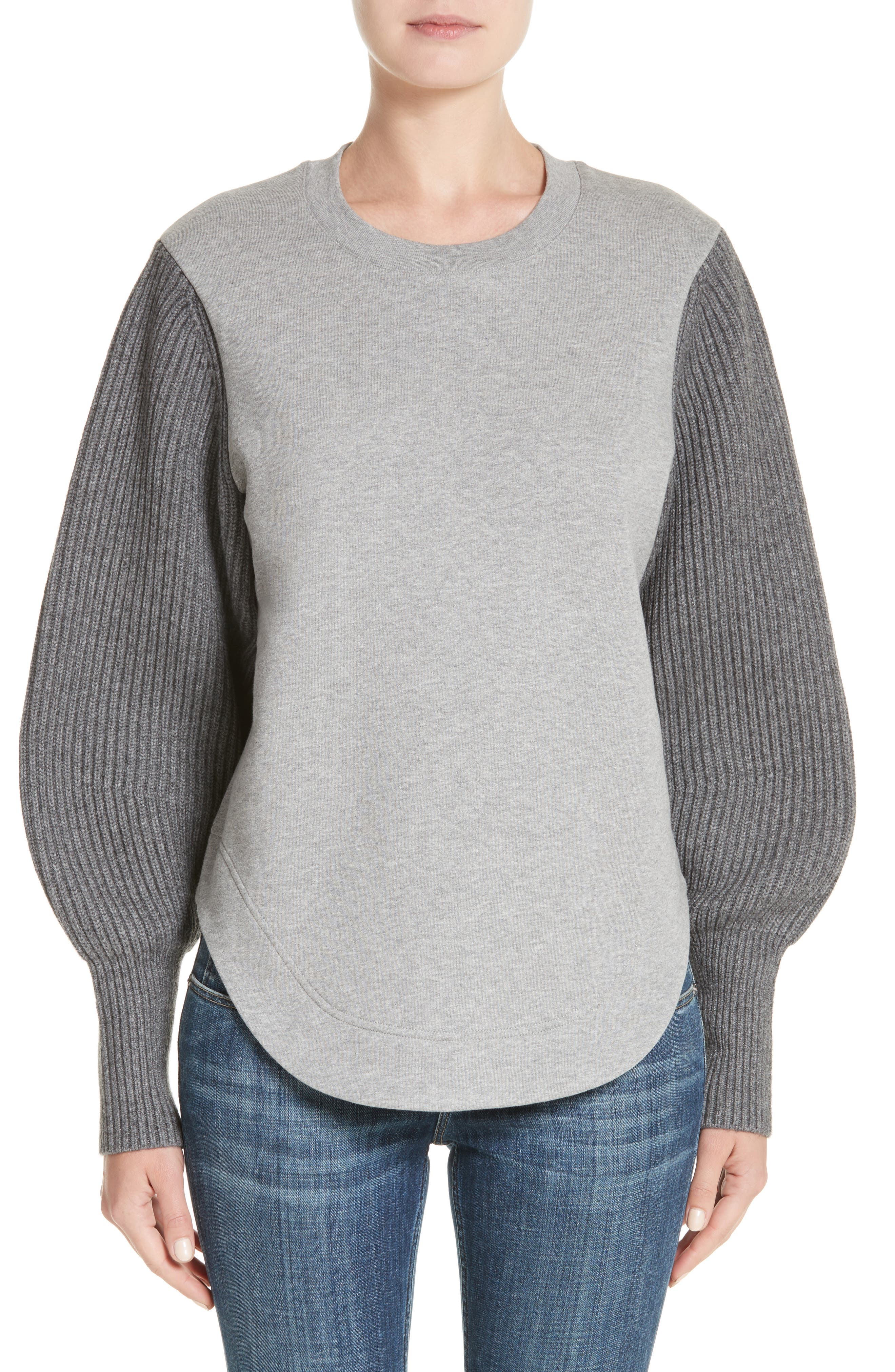 Alcobaca Rib Knit Sleeve Sweatshirt,                         Main,                         color, 050