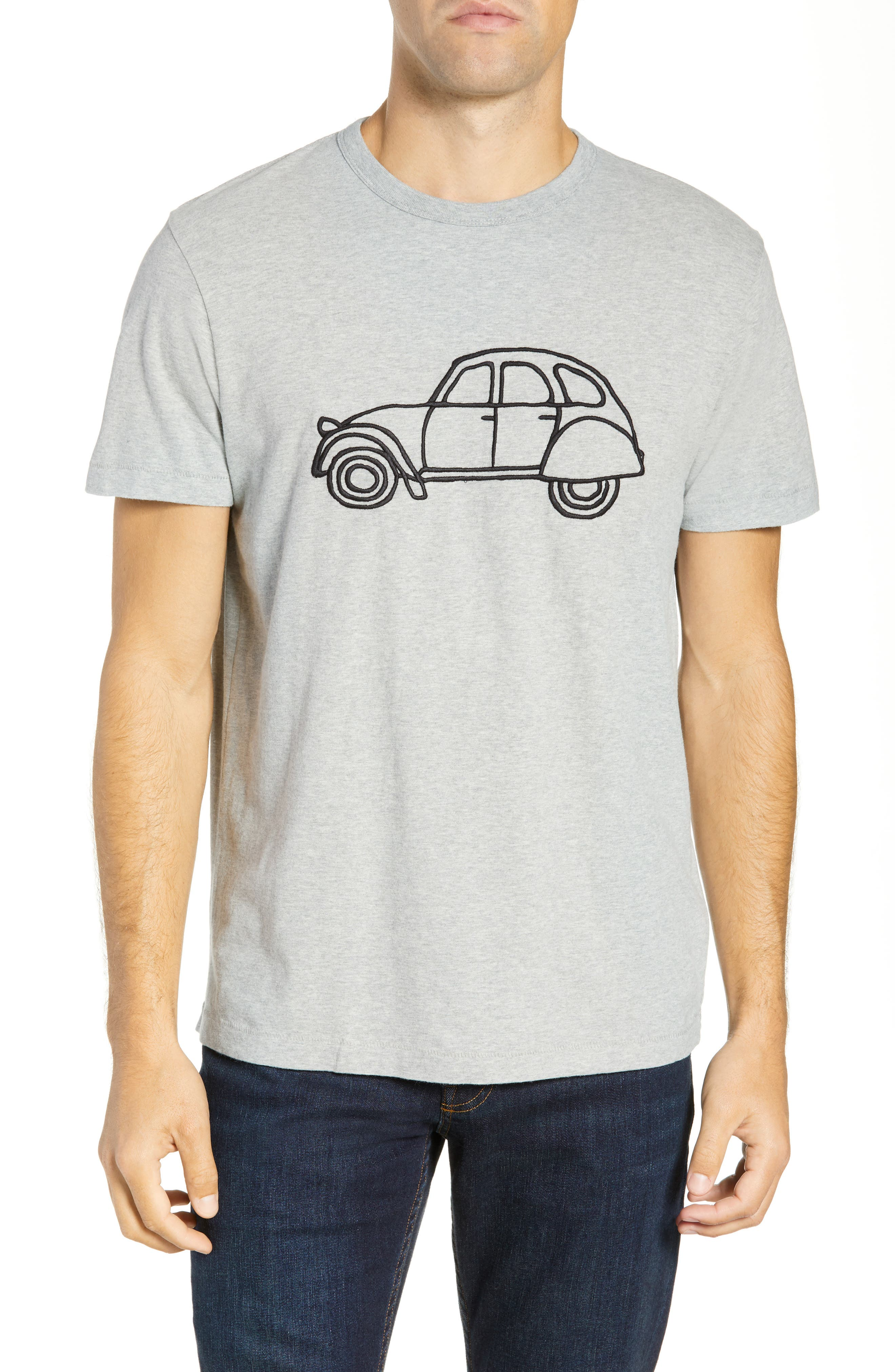 FRENCH CONNECTION,                             Embroidered Car Cotton T-Shirt,                             Main thumbnail 1, color,                             020