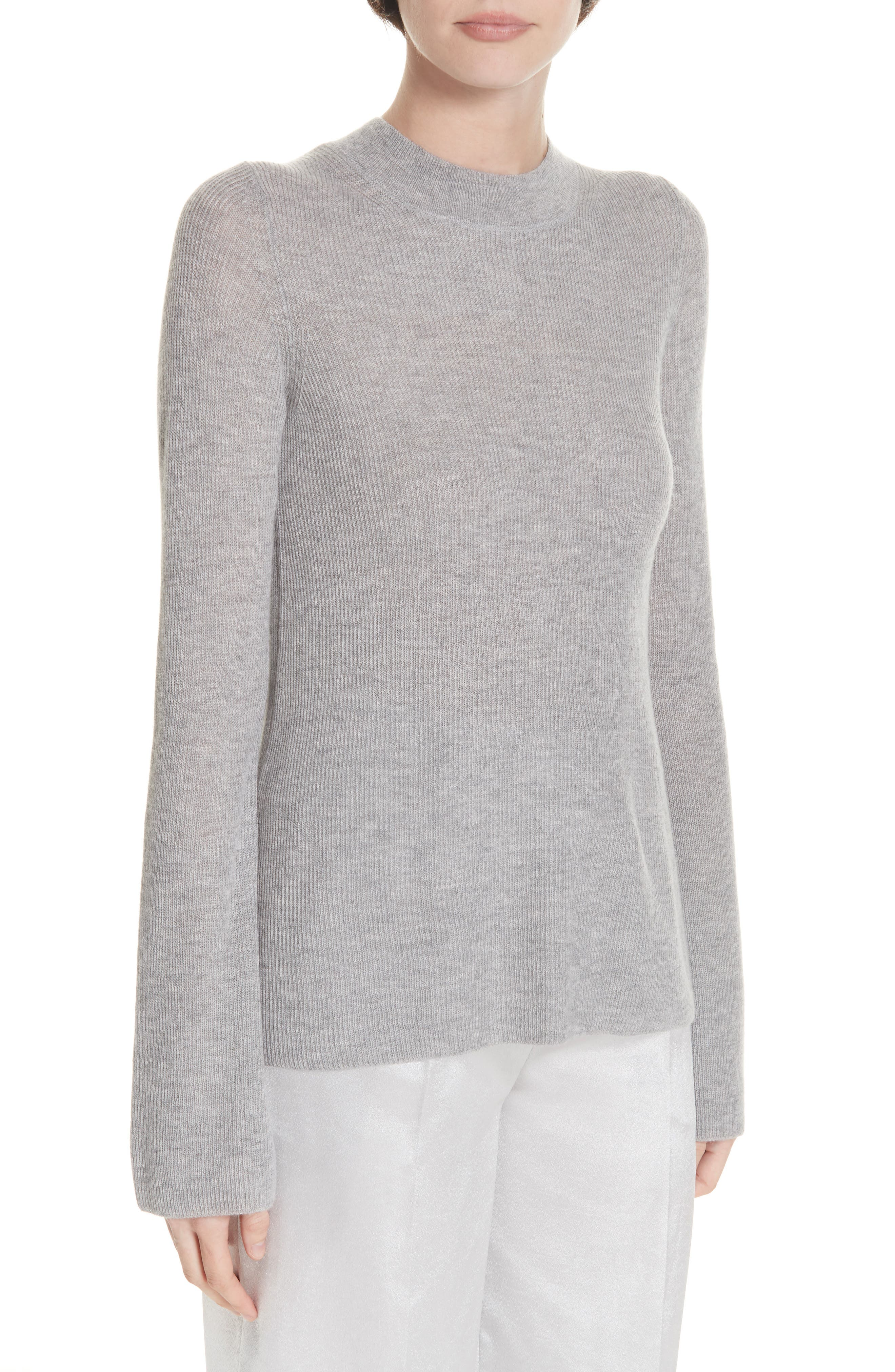 Ribbed Cashmere Sweater,                             Alternate thumbnail 4, color,                             H STEEL