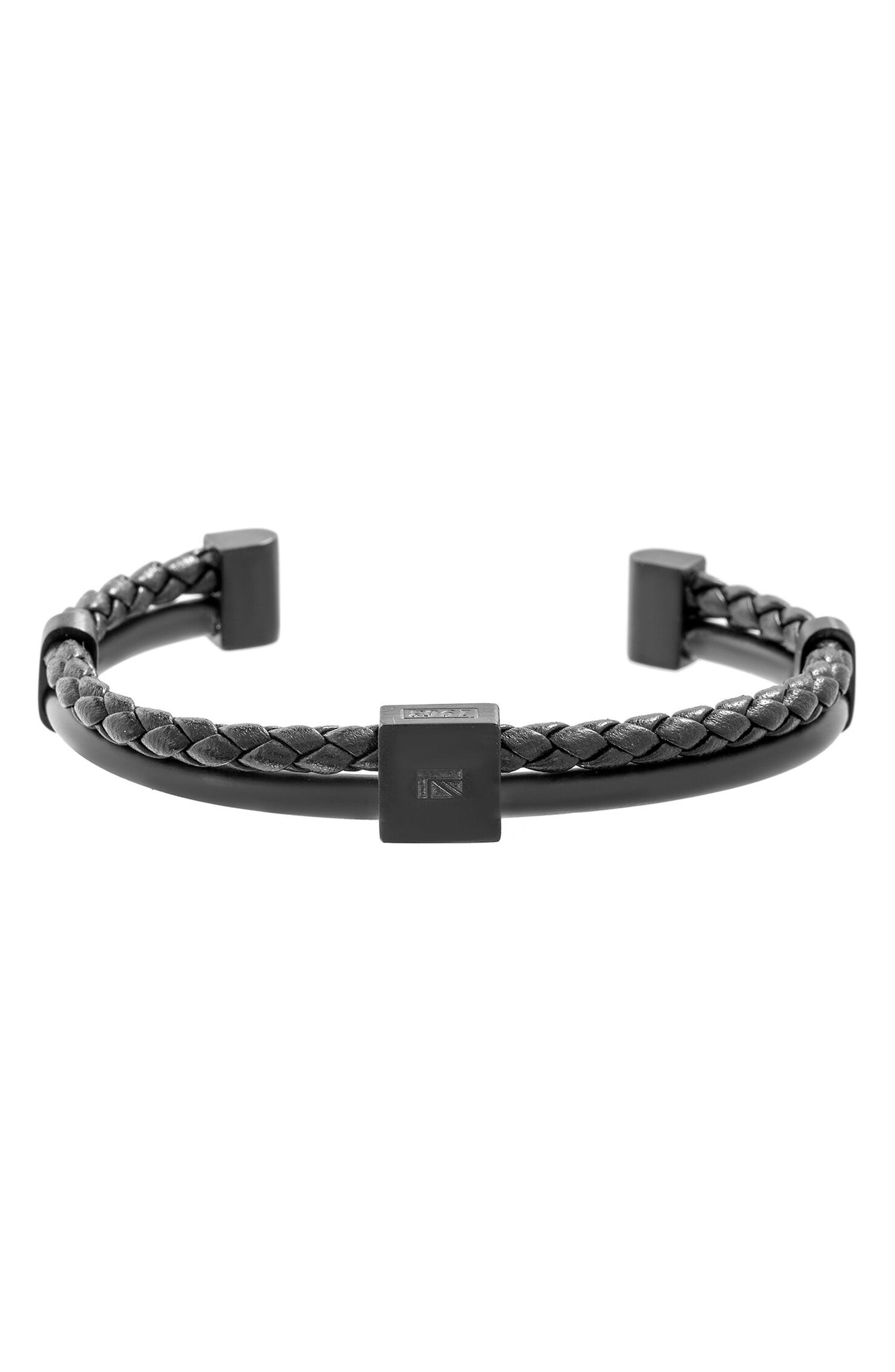BEN SHERMAN Braided Leather Cuff, Main, color, BLACK