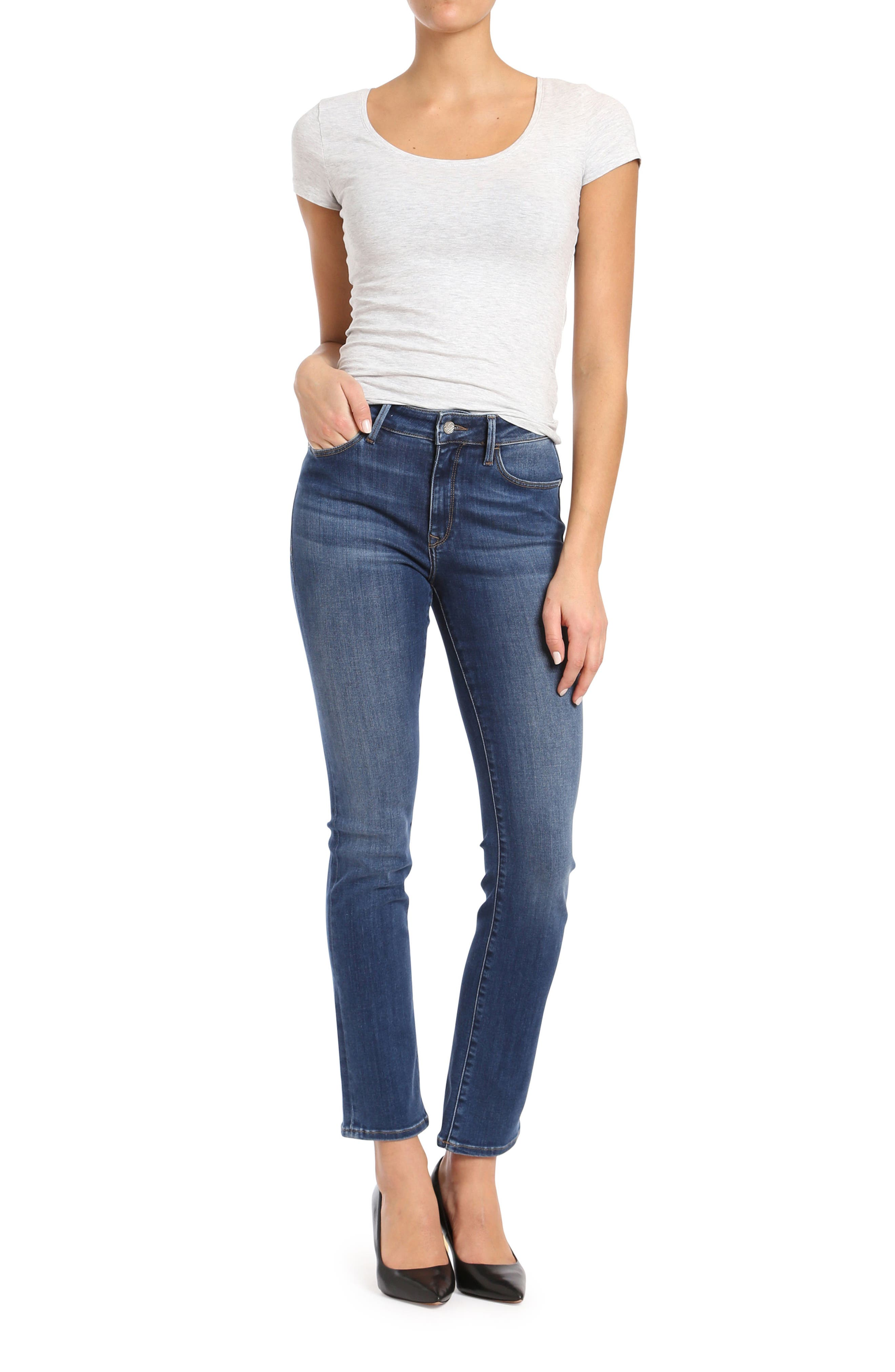 Kendra Straight Leg Jeans,                             Alternate thumbnail 5, color,                             INDIGO SUPER SOFT