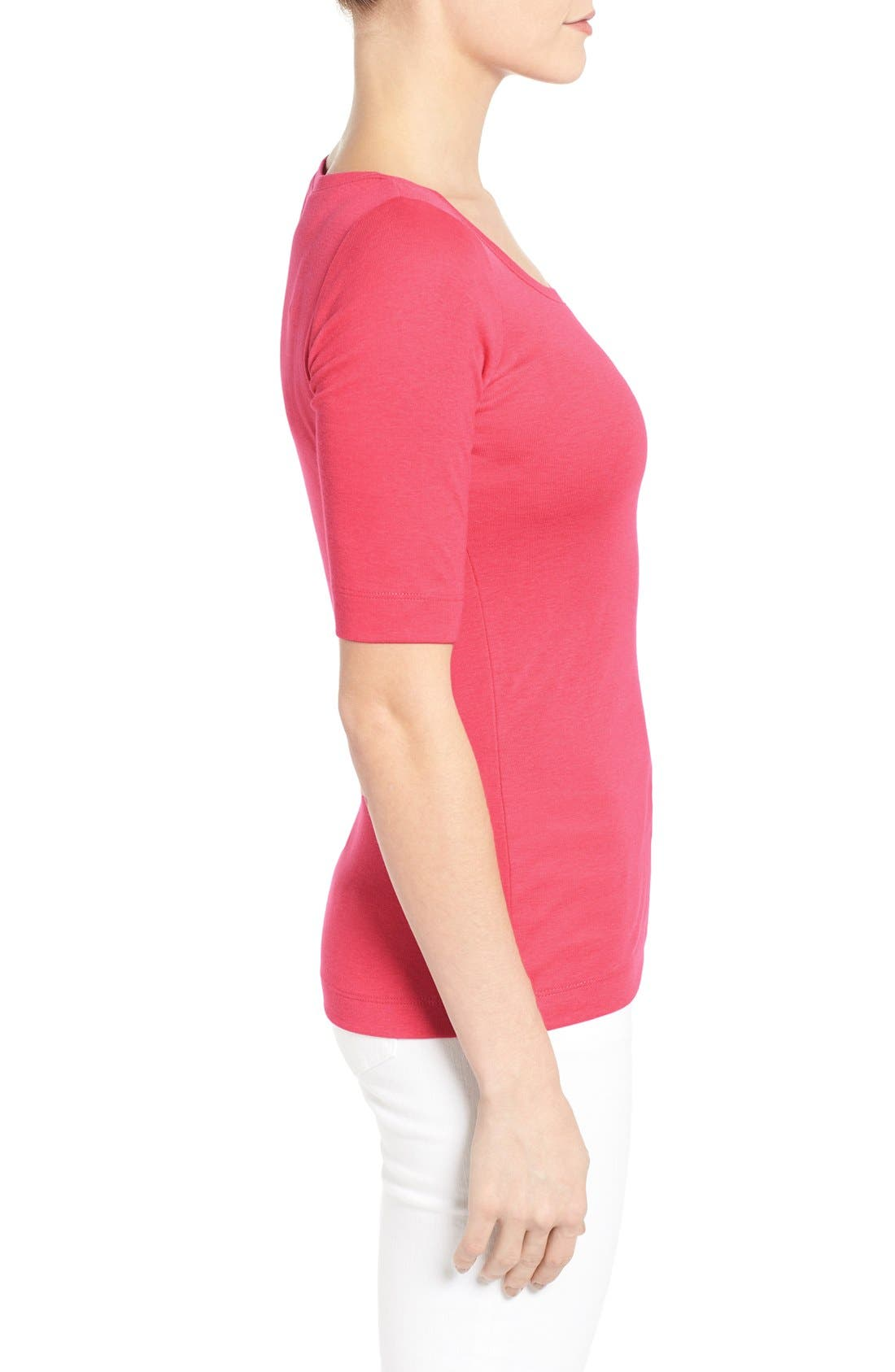 Ballet Neck Cotton & Modal Knit Elbow Sleeve Tee,                             Alternate thumbnail 152, color,