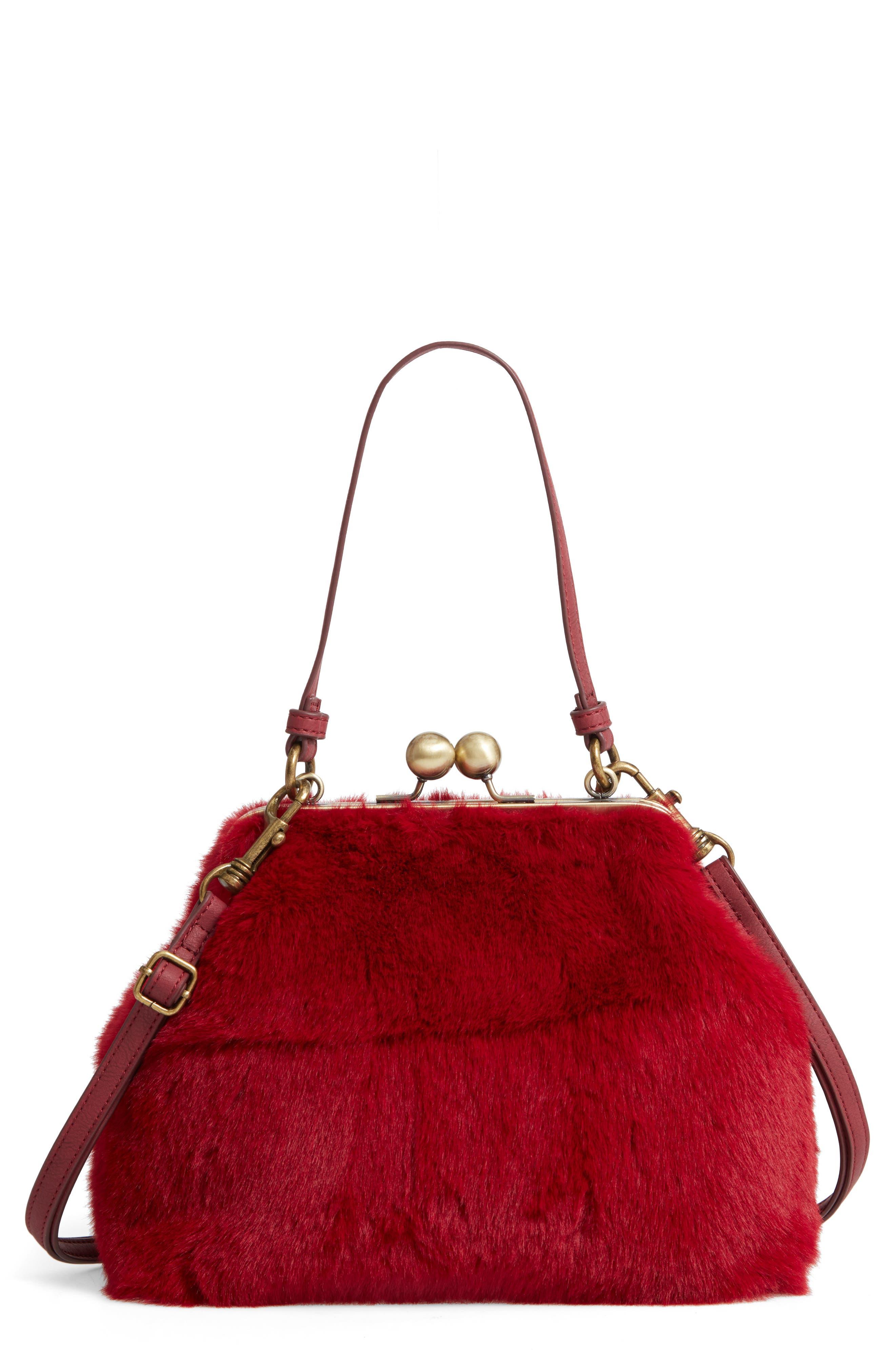 Faux Fur Oversize Coin Bag,                             Main thumbnail 1, color,                             BURGUNDY