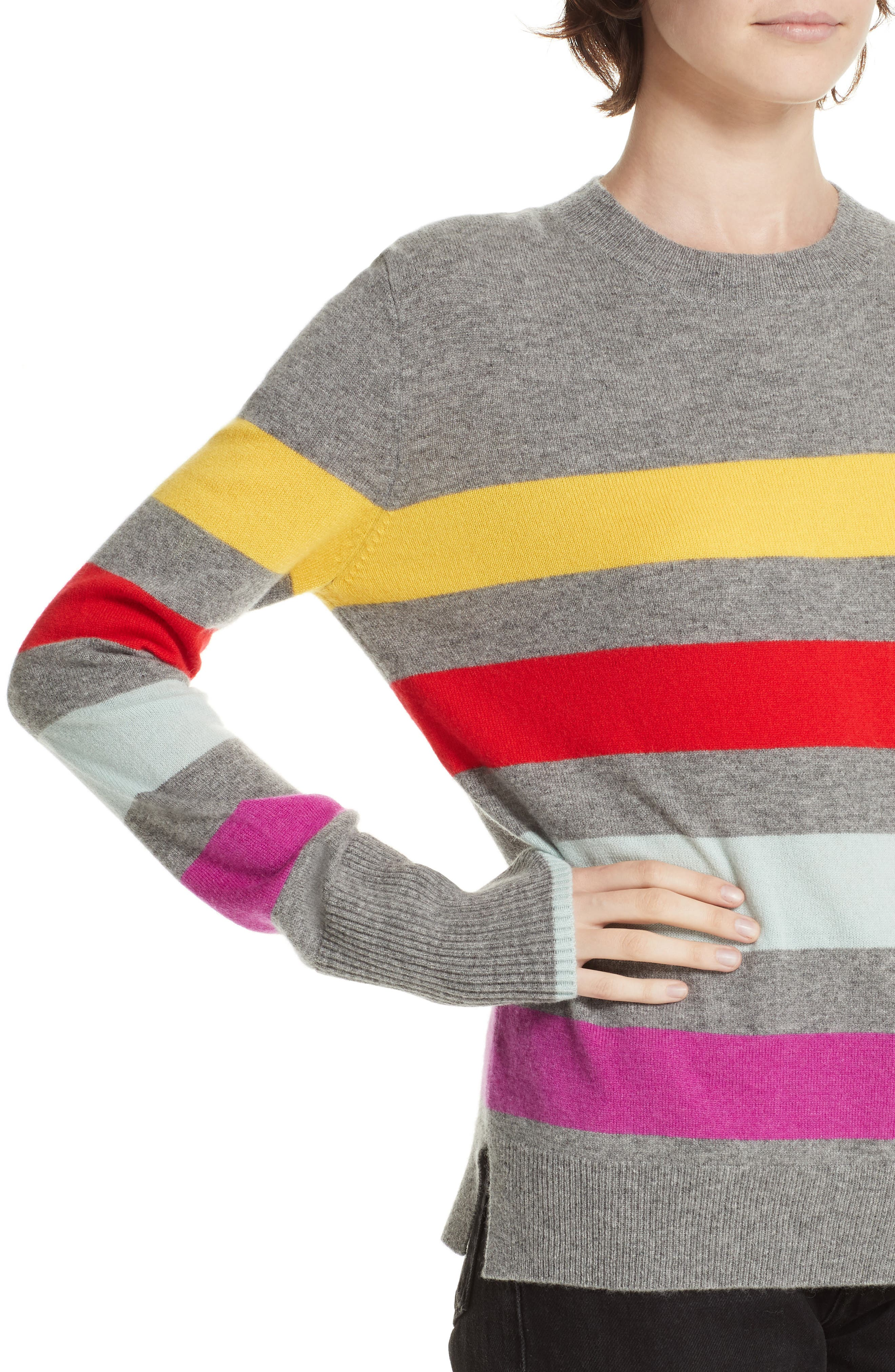 Candy Stripe Sweater,                             Alternate thumbnail 4, color,                             GREY MARLE/ RAINBOW