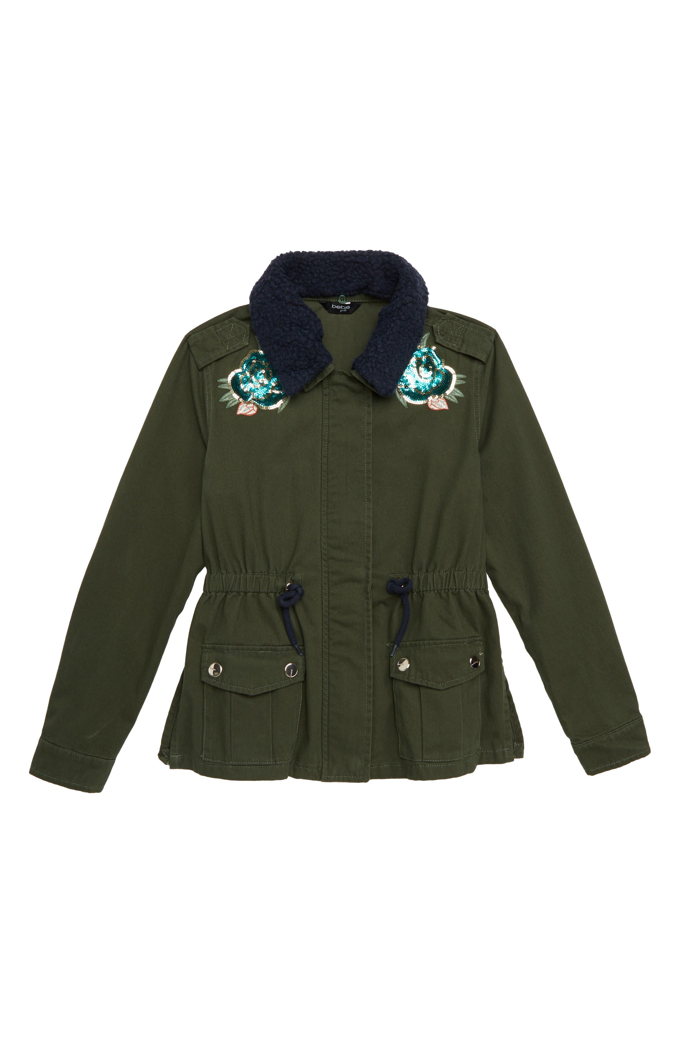 Embellished Cargo Jacket,                             Main thumbnail 1, color,                             OLIVE