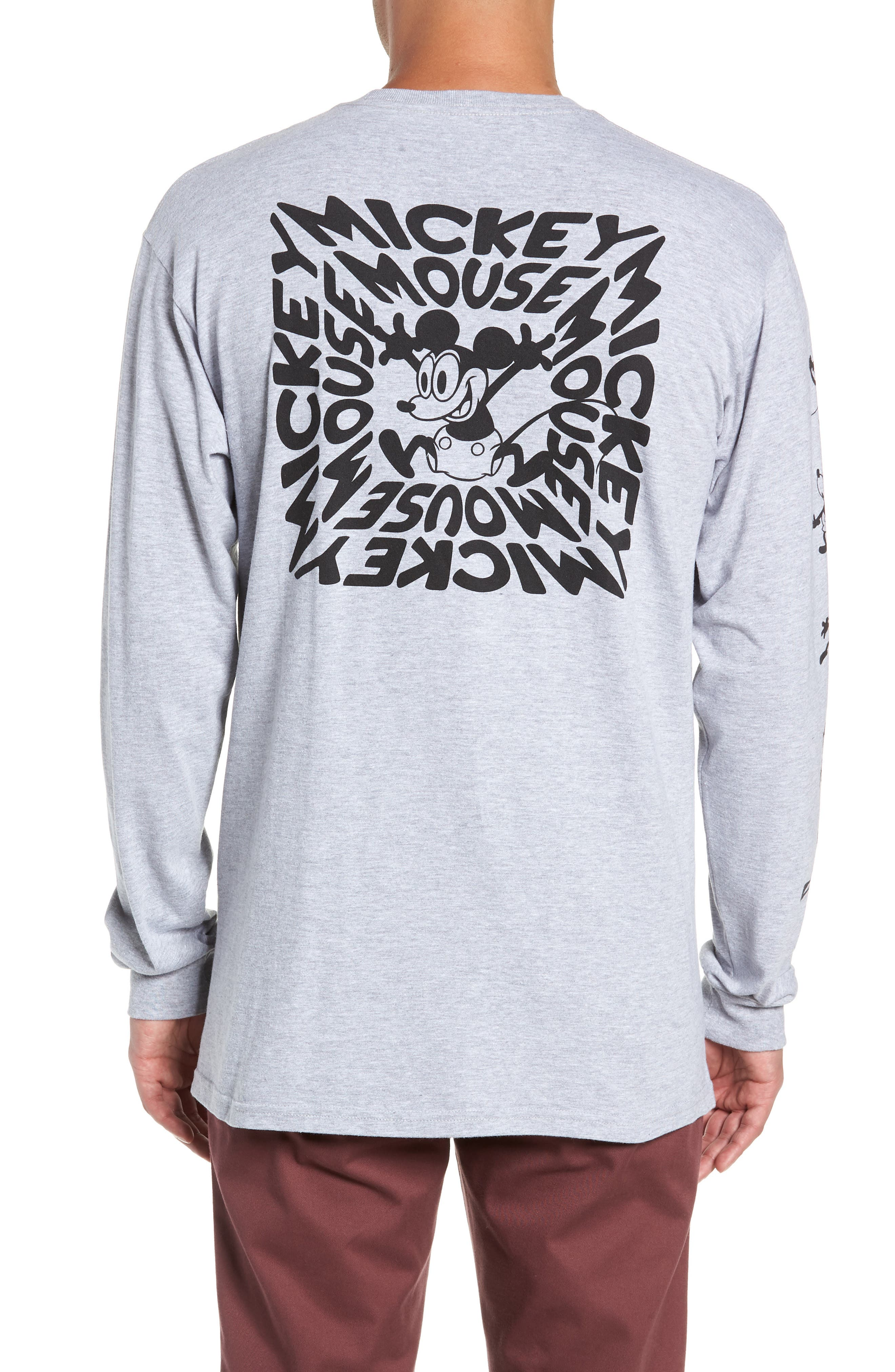 Mickey's 90th Plane Crazy Long Sleeve T-Shirt,                             Alternate thumbnail 2, color,                             ATHLETIC HEATHER