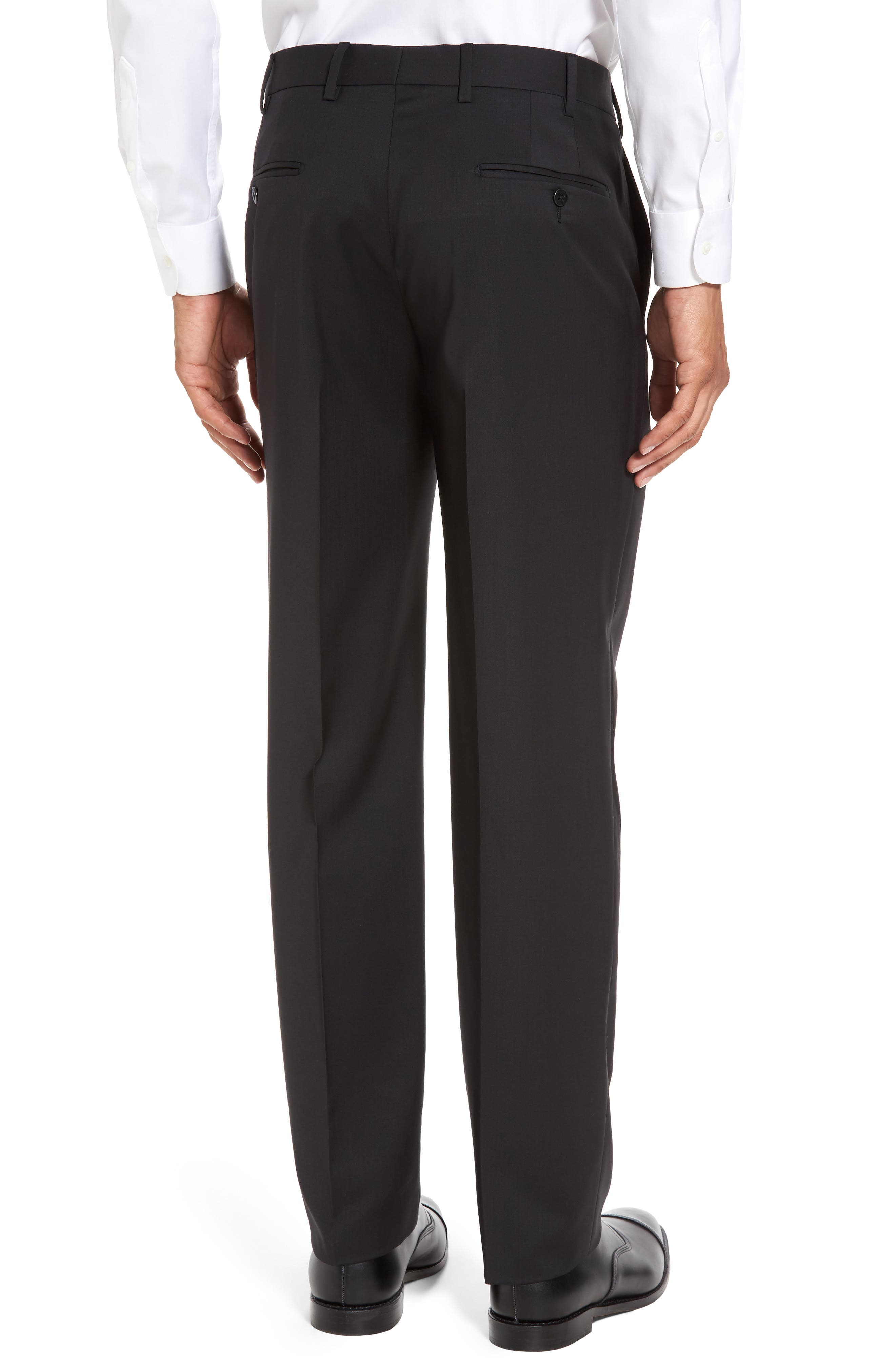 Devon Flat Front Solid Wool Serge Trousers,                             Alternate thumbnail 3, color,                             BLACK