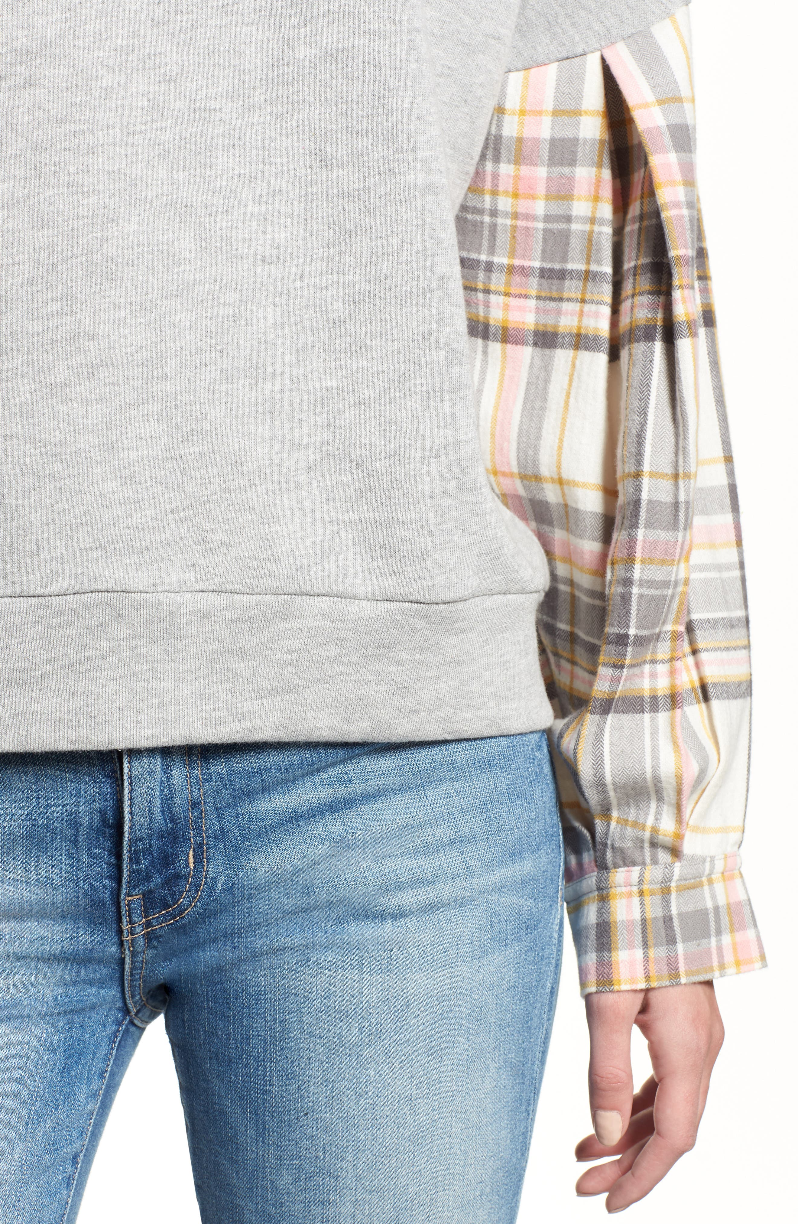 Flannel Sleeve Sweatshirt,                             Alternate thumbnail 4, color,                             030