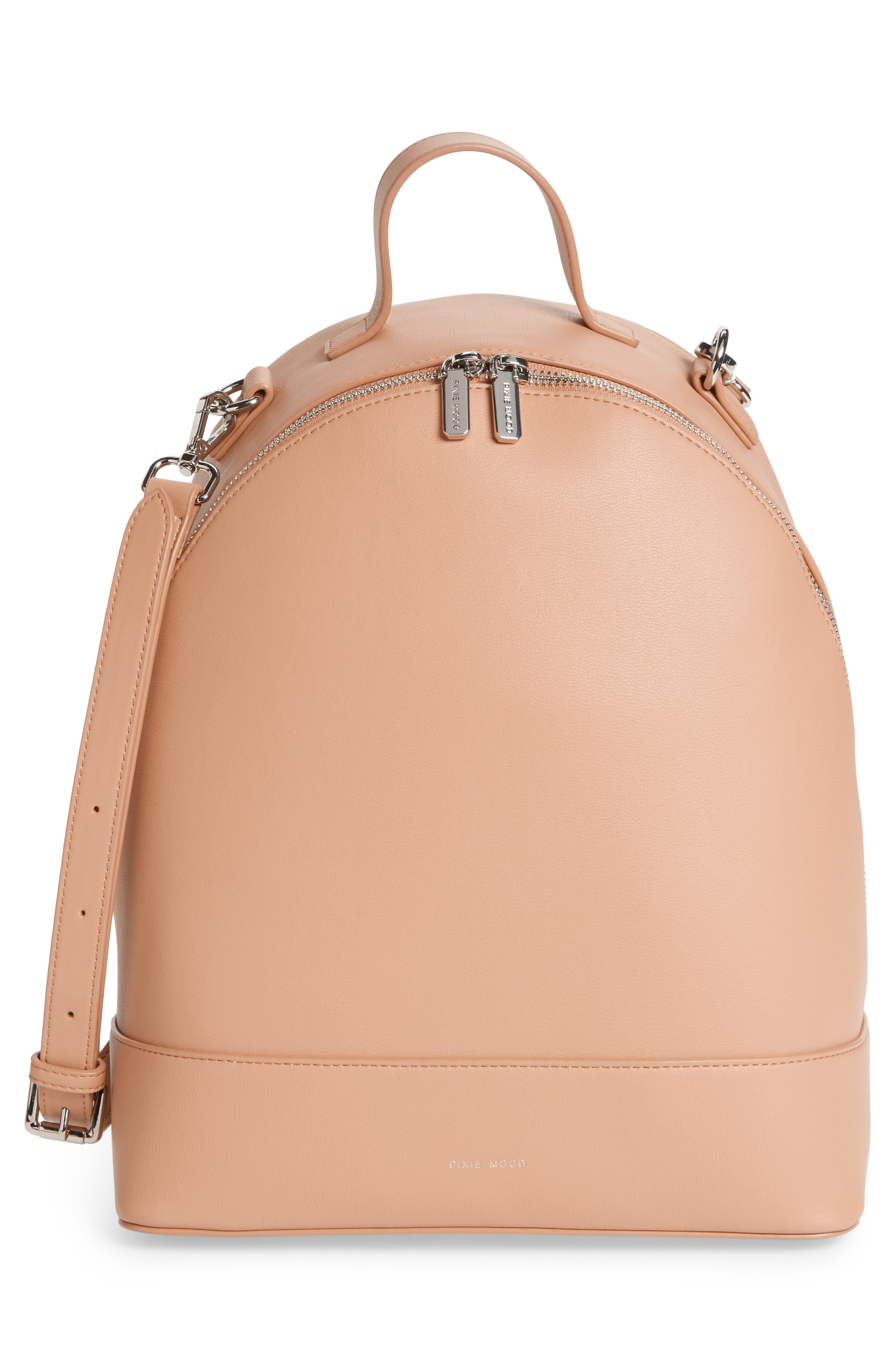 Large Cora Faux Leather Convertible Backpack,                             Alternate thumbnail 3, color,                             PRALINE