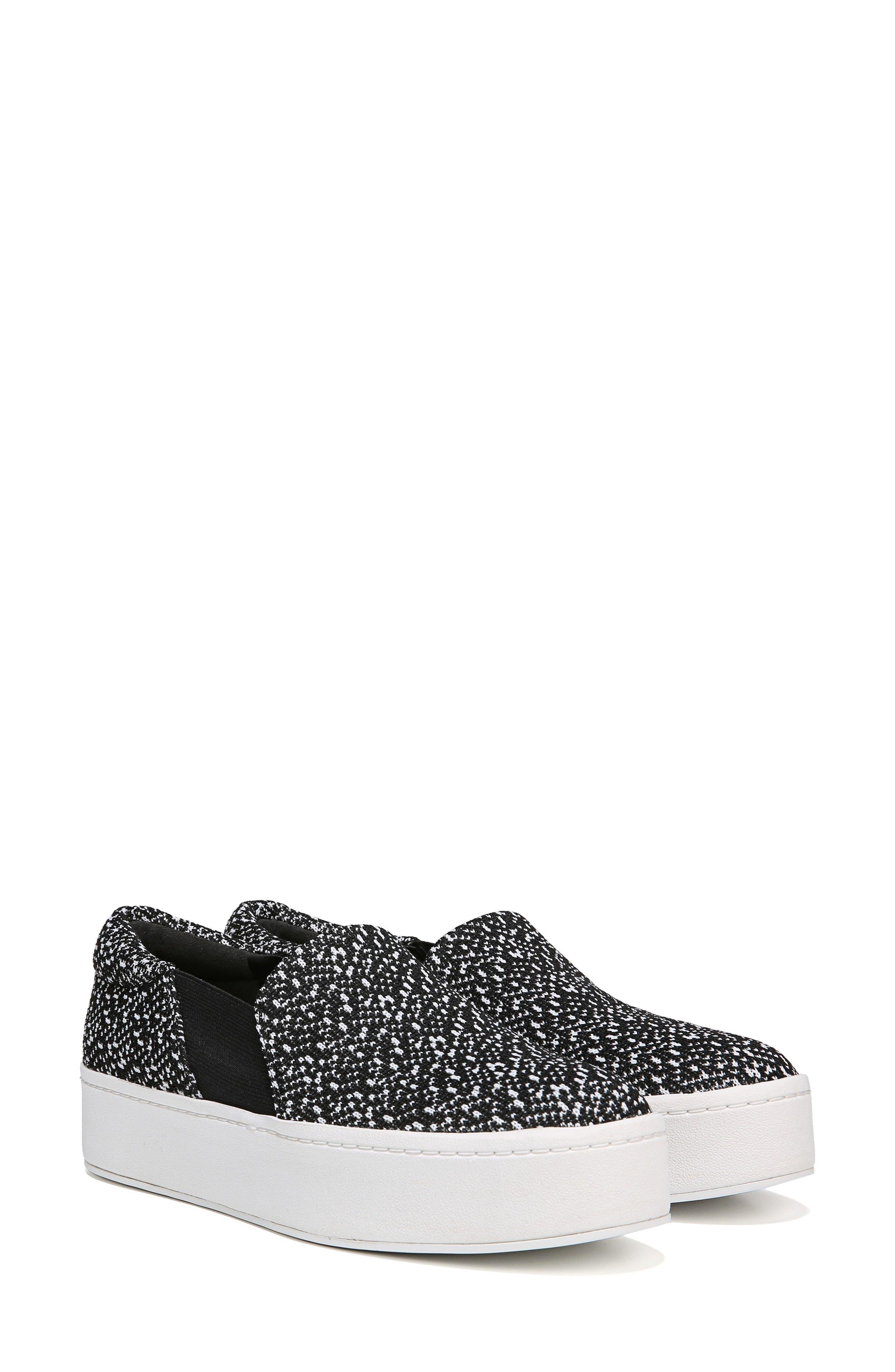 Warren Slip-On Sneaker,                             Alternate thumbnail 6, color,                             BLACK/ WHITE