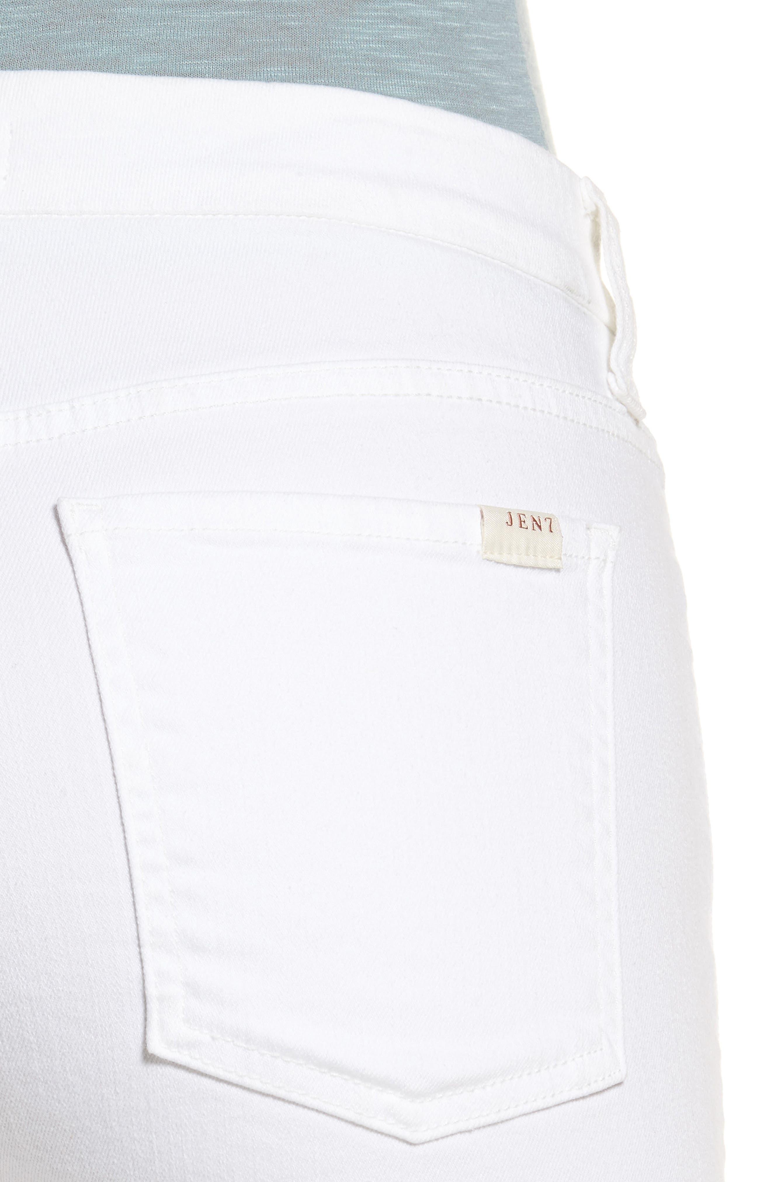 Stretch Straight Leg Crop Jeans,                             Alternate thumbnail 4, color,                             WHITE DENIM