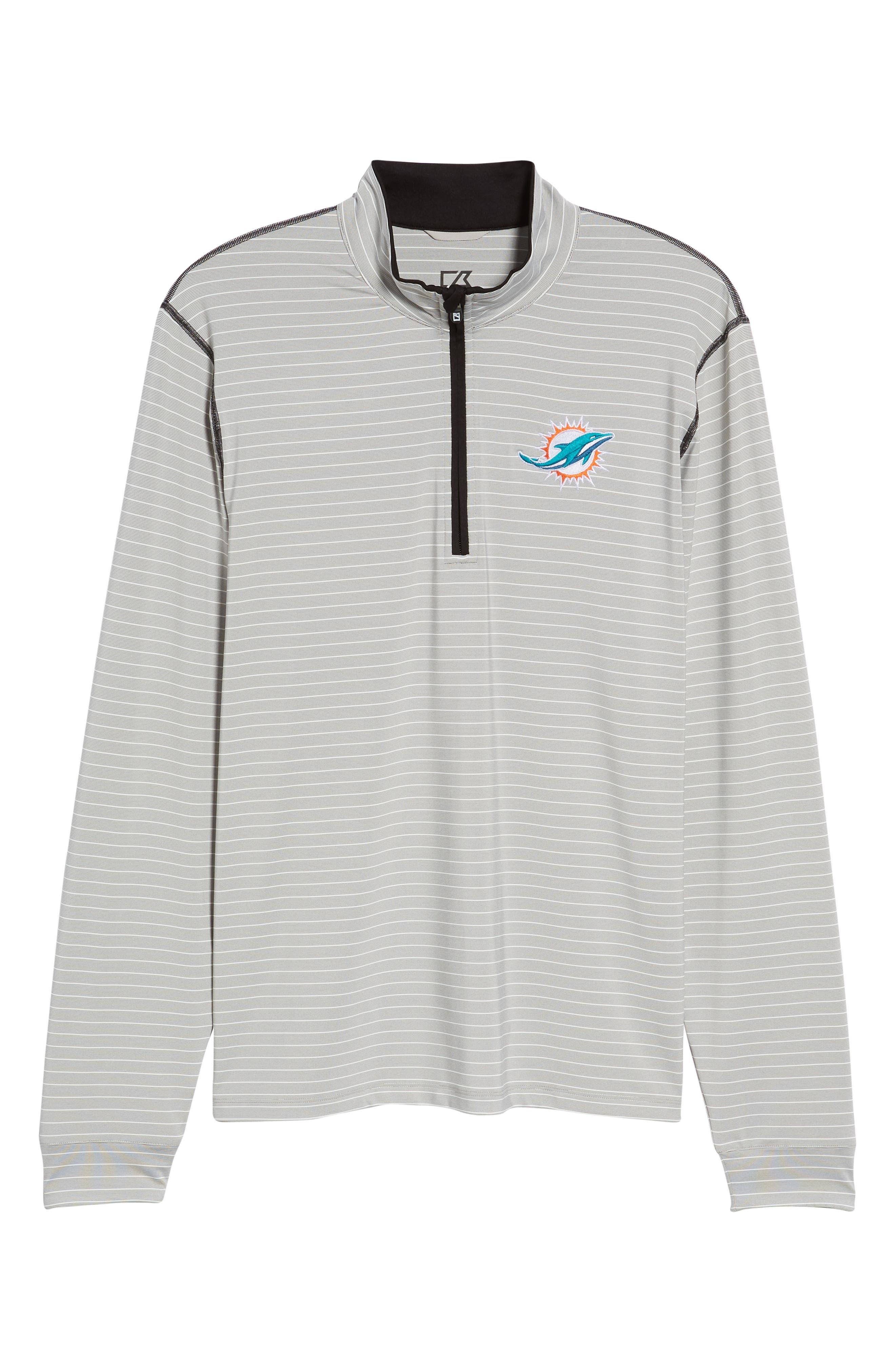 Meridian - Miami Dolphins Regular Fit Half Zip Pullover,                             Alternate thumbnail 6, color,                             BLACK