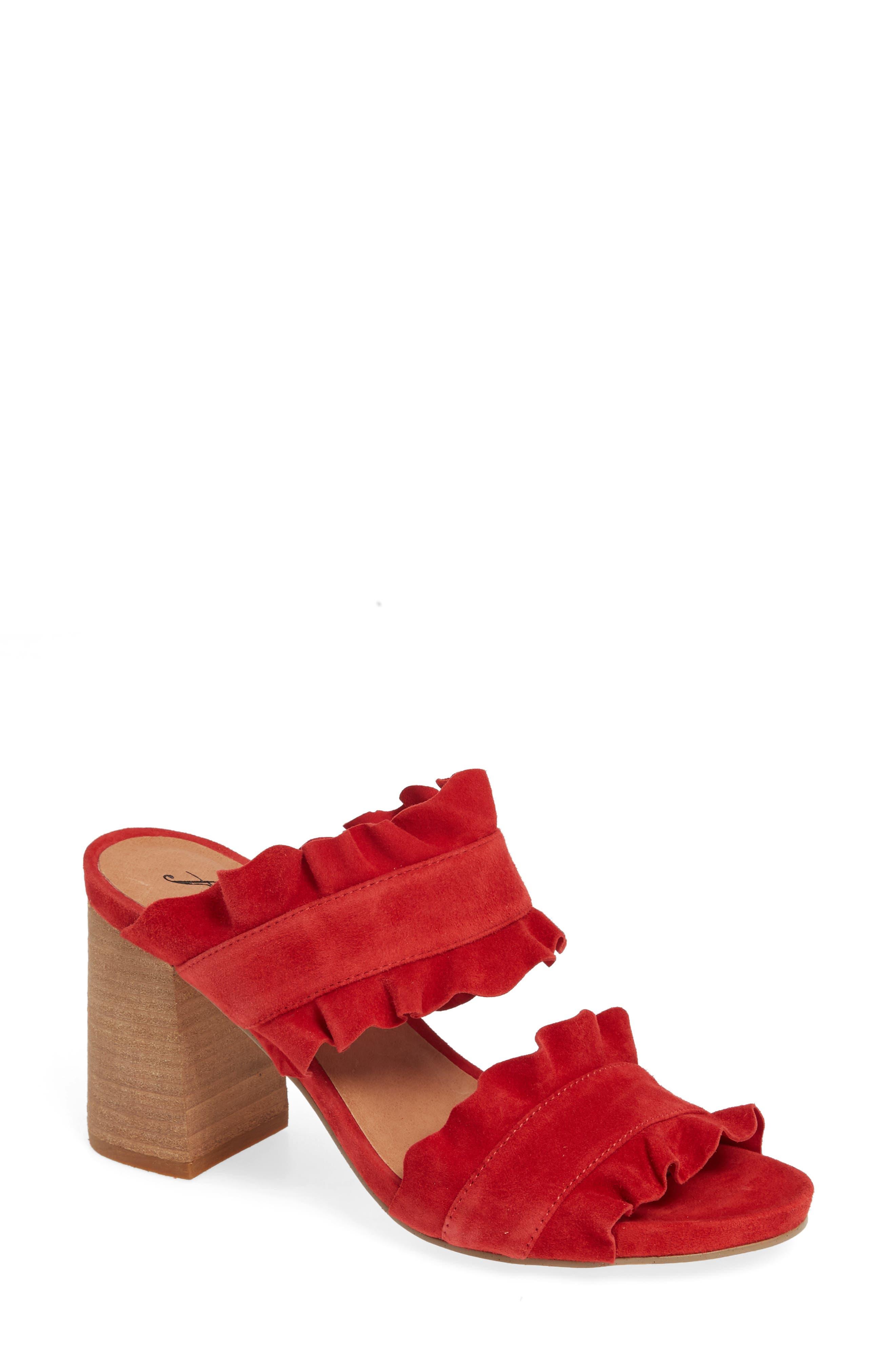 Free People Rosie Ruffle Slide Sandal, Red